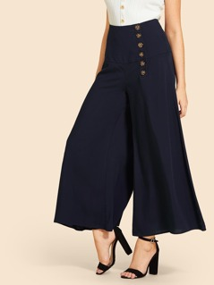 Single Breasted Wide Leg Pants