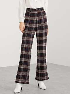 Single Button Plaid Flare Pants