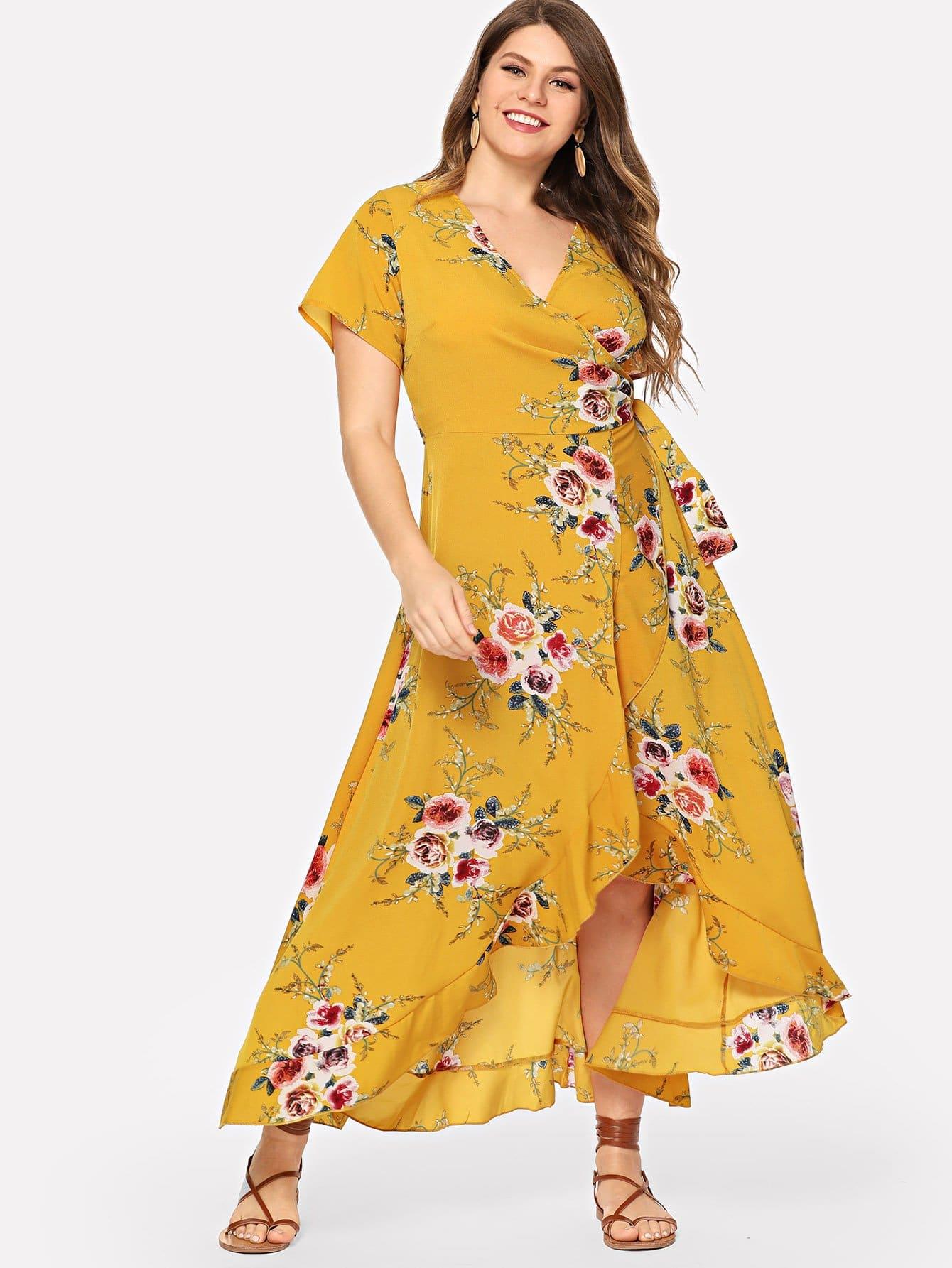 Купить Плюс разреры v шеи цветочные асимметричные платья на запах, Isabela, SheIn