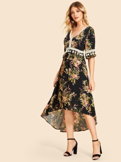 Lace Insert Tassel Detail Floral Dress