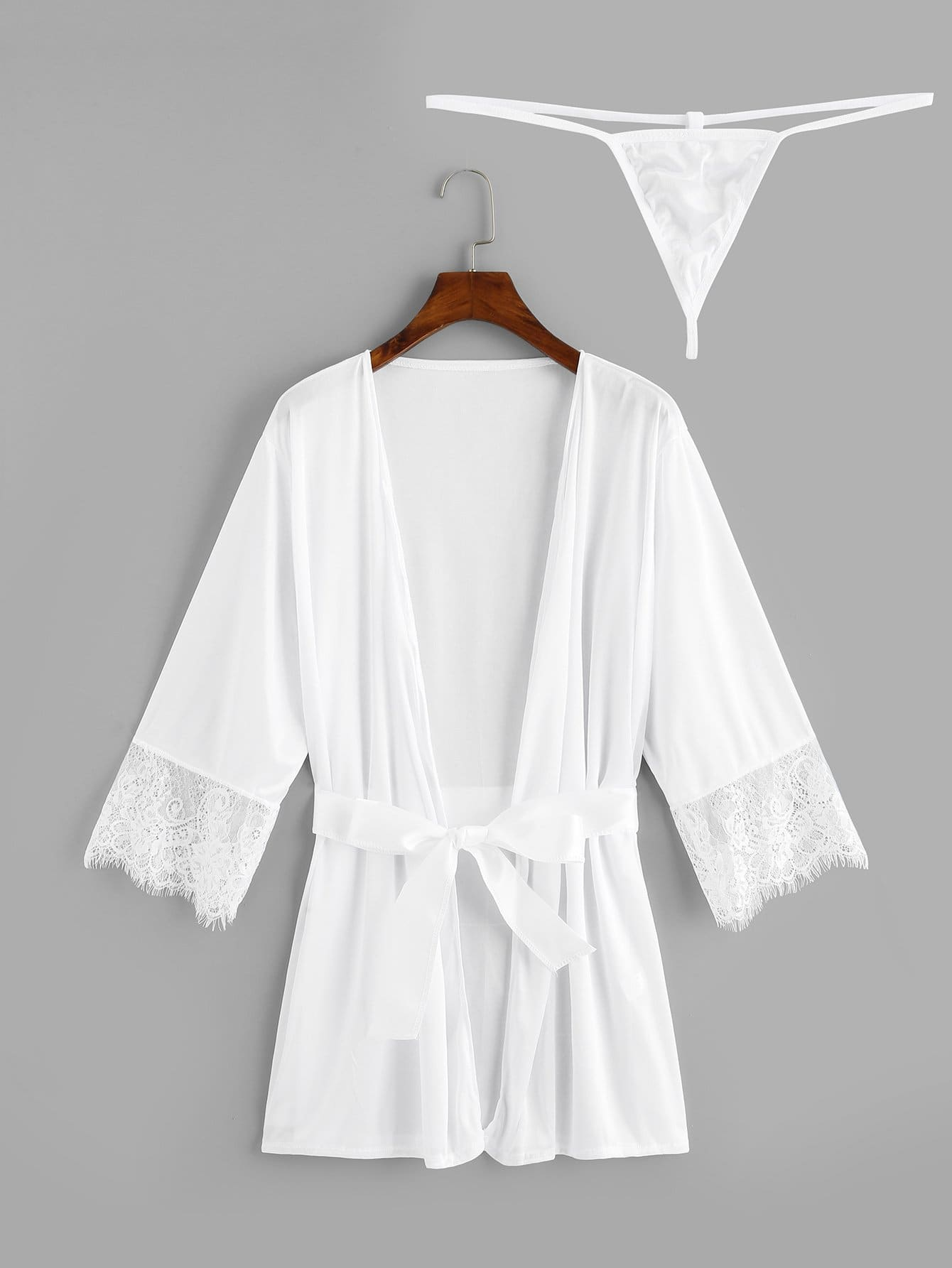 Plus Contrast Lace Robe With Thong & Belt