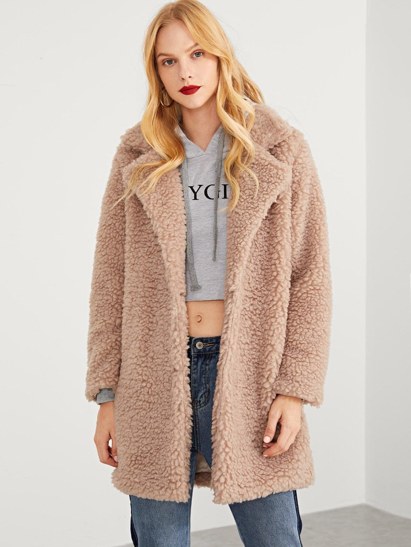 Купить Твердое тедди пальто из искусственного меха, Denisa, SheIn