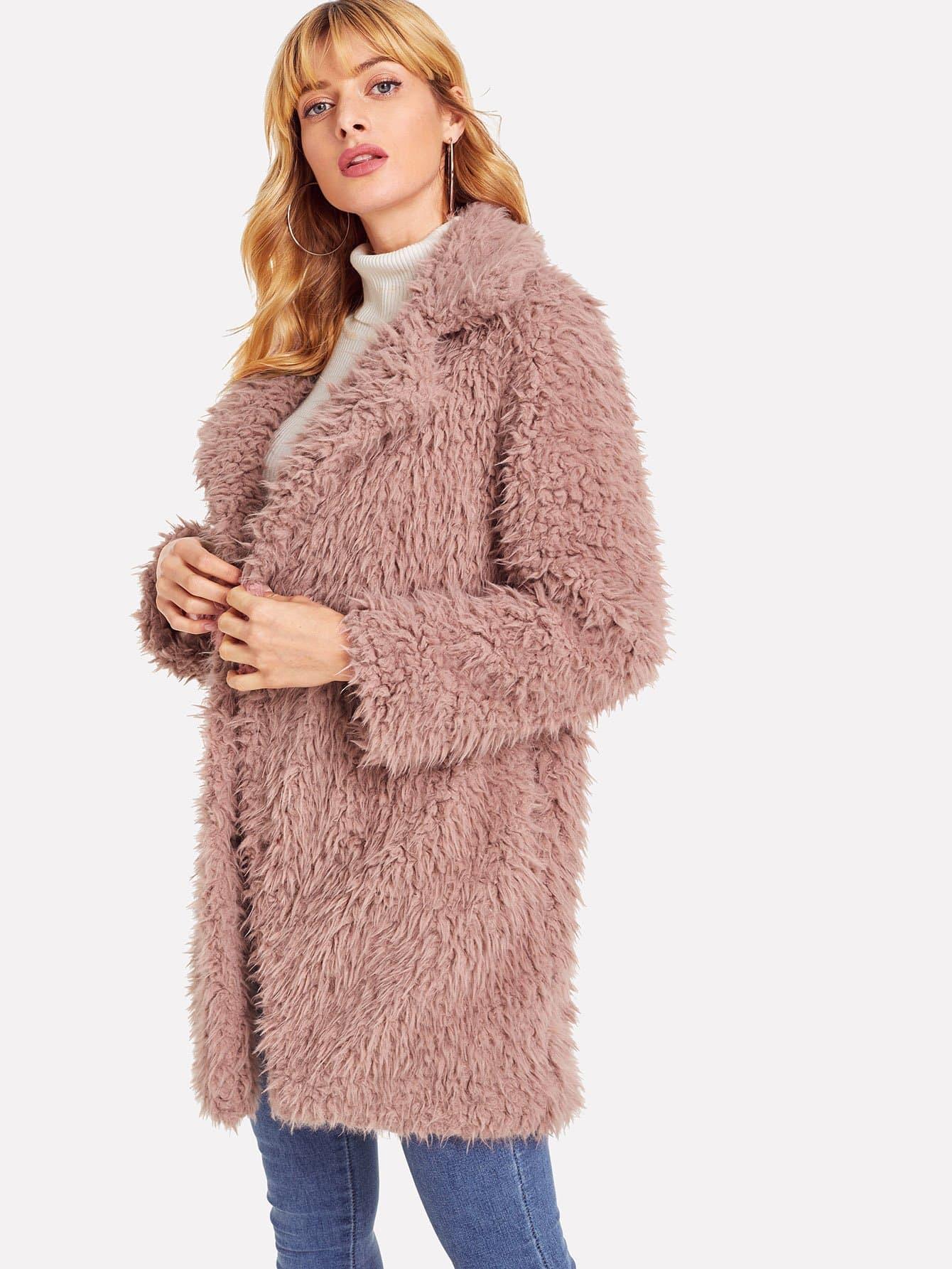 Купить Открытой передней тедди пальто из искусственного меха, Masha, SheIn