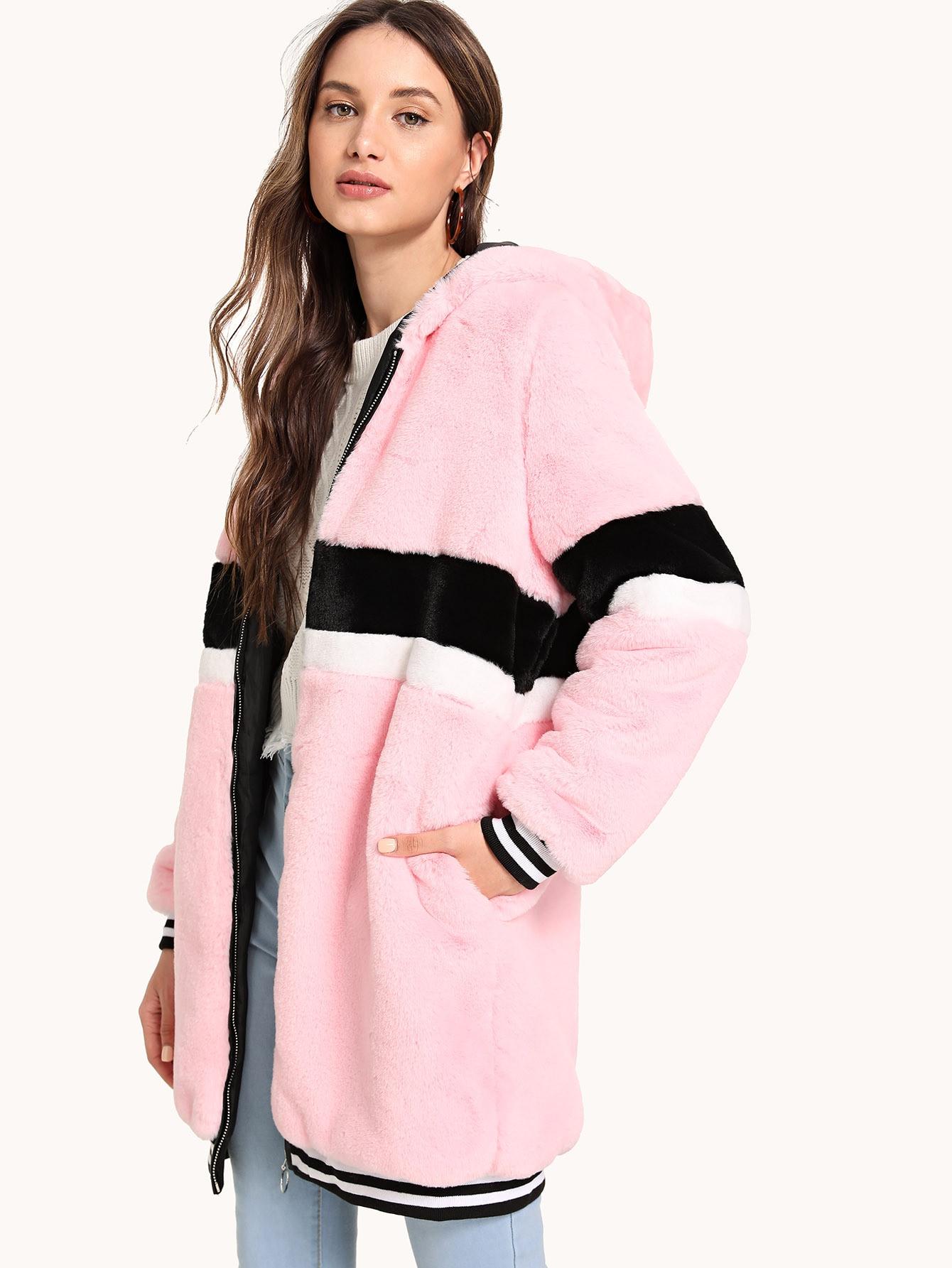 Купить Тедди пальто в полоску из искусственного меха на молнии, Tatiana, SheIn