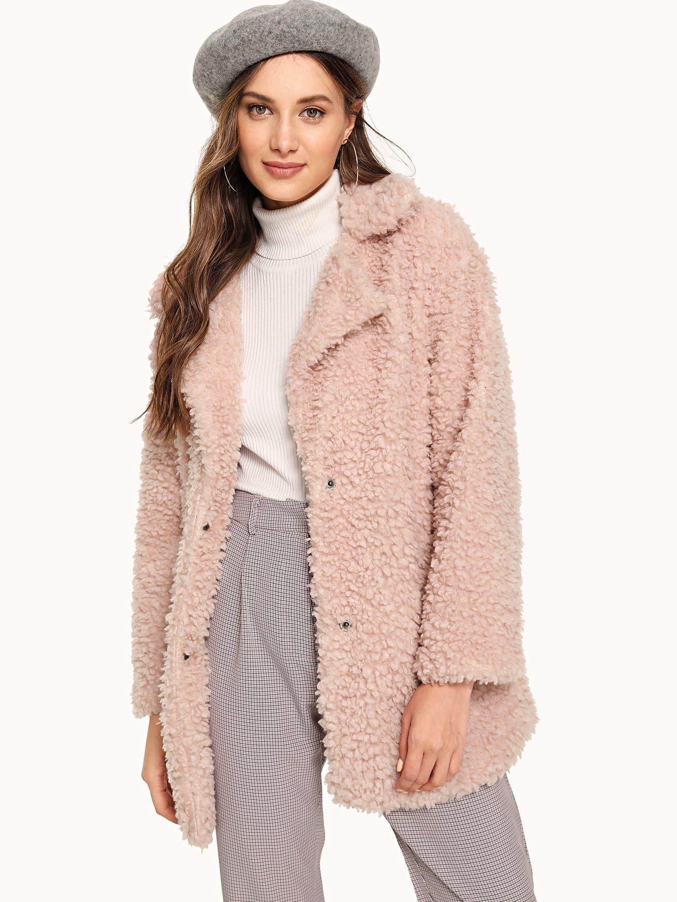 Купить Тедди пальто с зубчатым воротником, Tatiana, SheIn