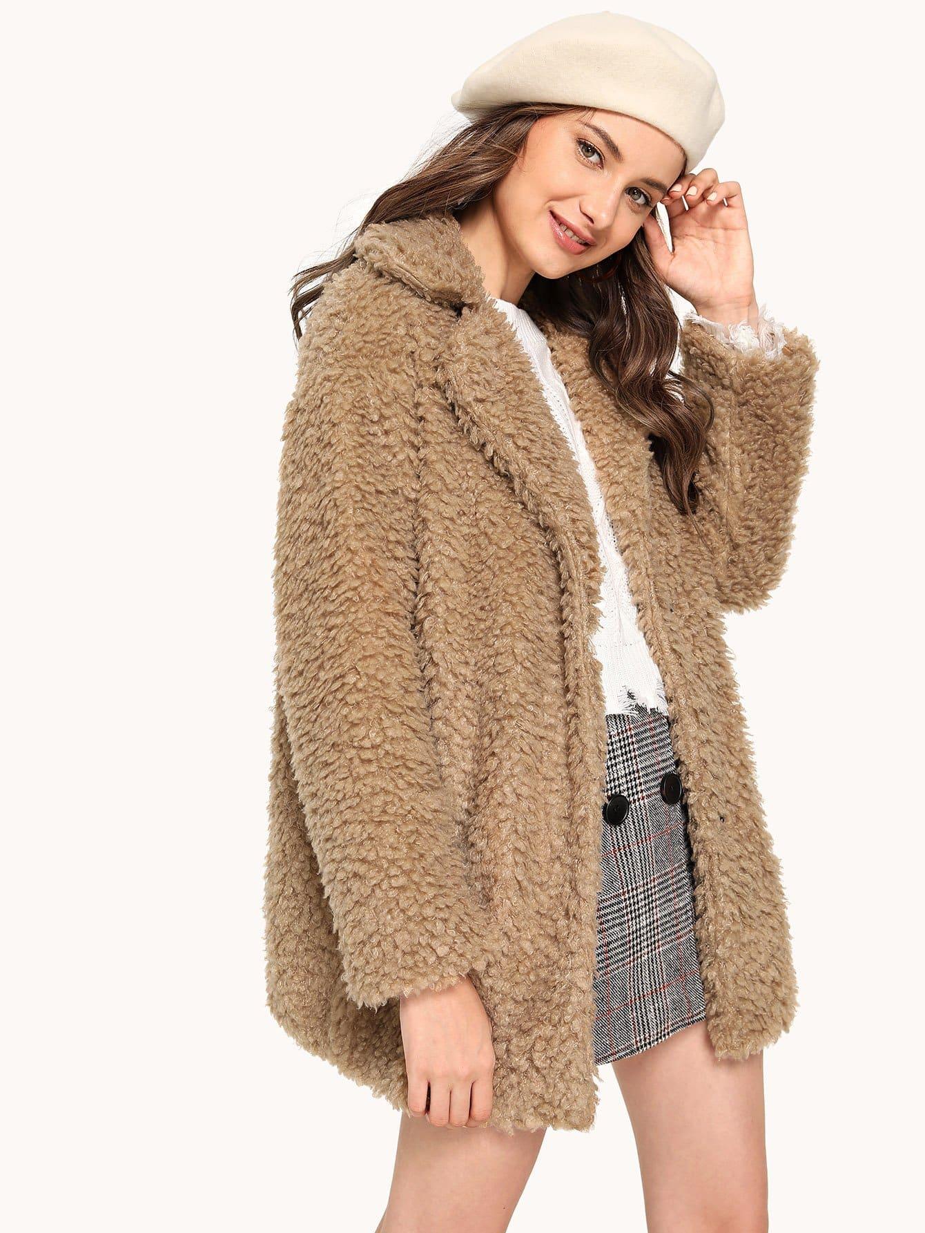 Купить Пальто тедди с зазубренным воротником, Tatiana, SheIn