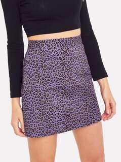 Leopard Print Zip Back Skirt