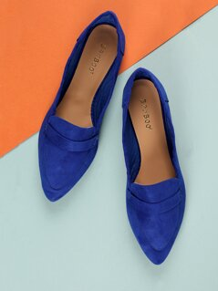 Faux Suede Pointed Loafers