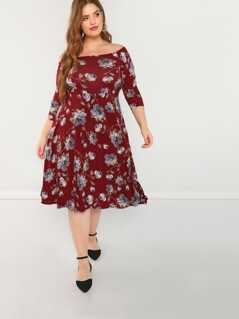 Boat Neck Floral Midi Dress