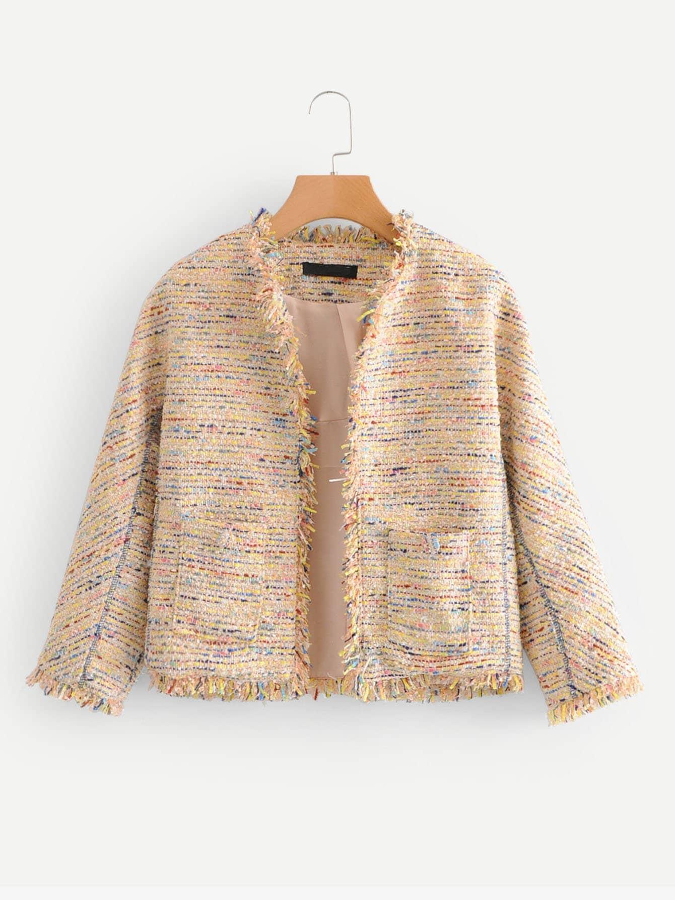 Купить Пальто из твида и с оторочками бахром, null, SheIn