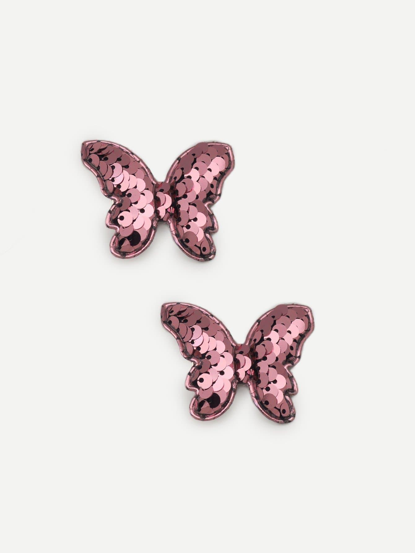 Girls Sequin Butterfly Hair Clip 2pcs