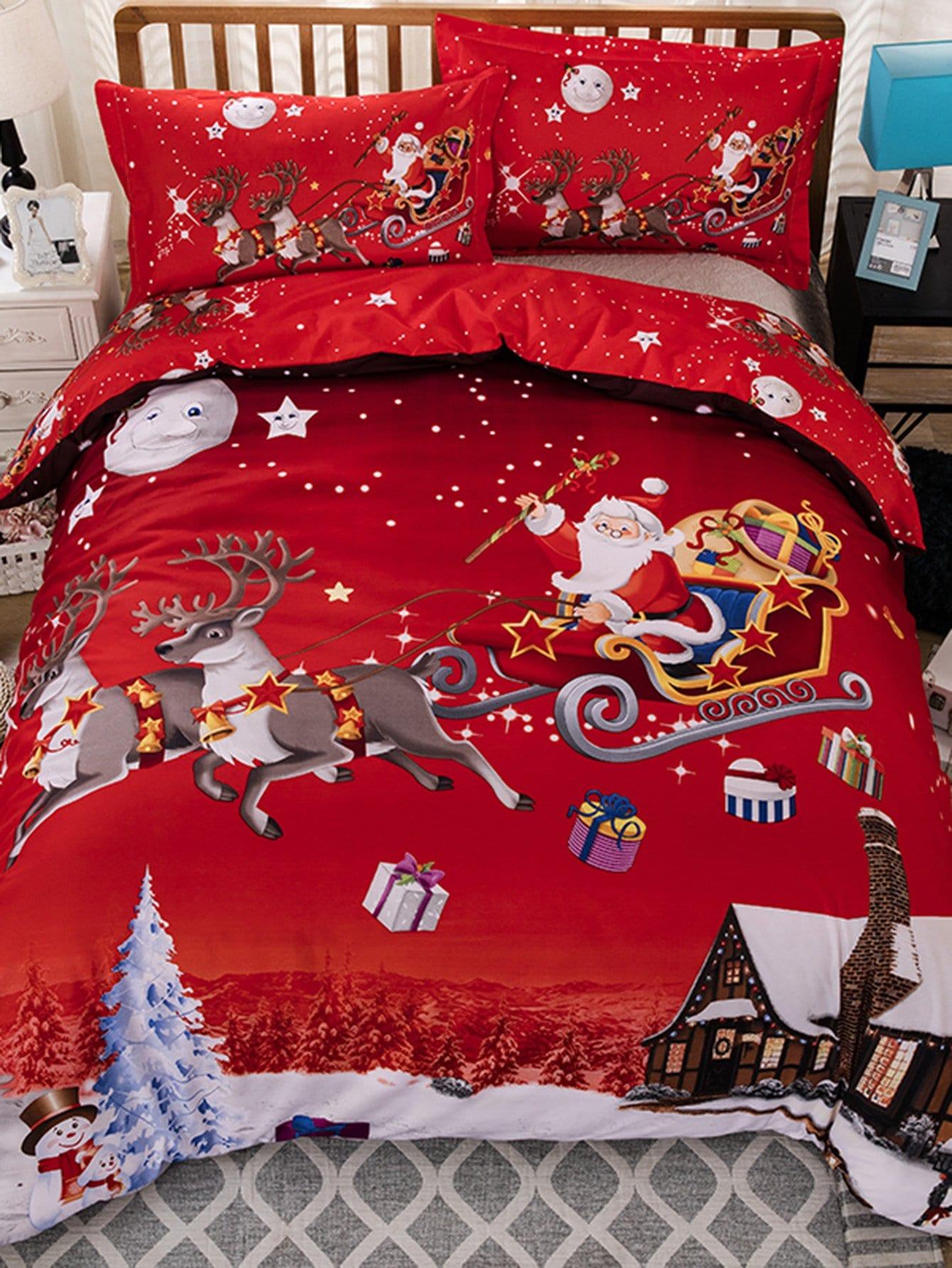 Купить Комплект постельного белья с рисунком рождества, null, SheIn