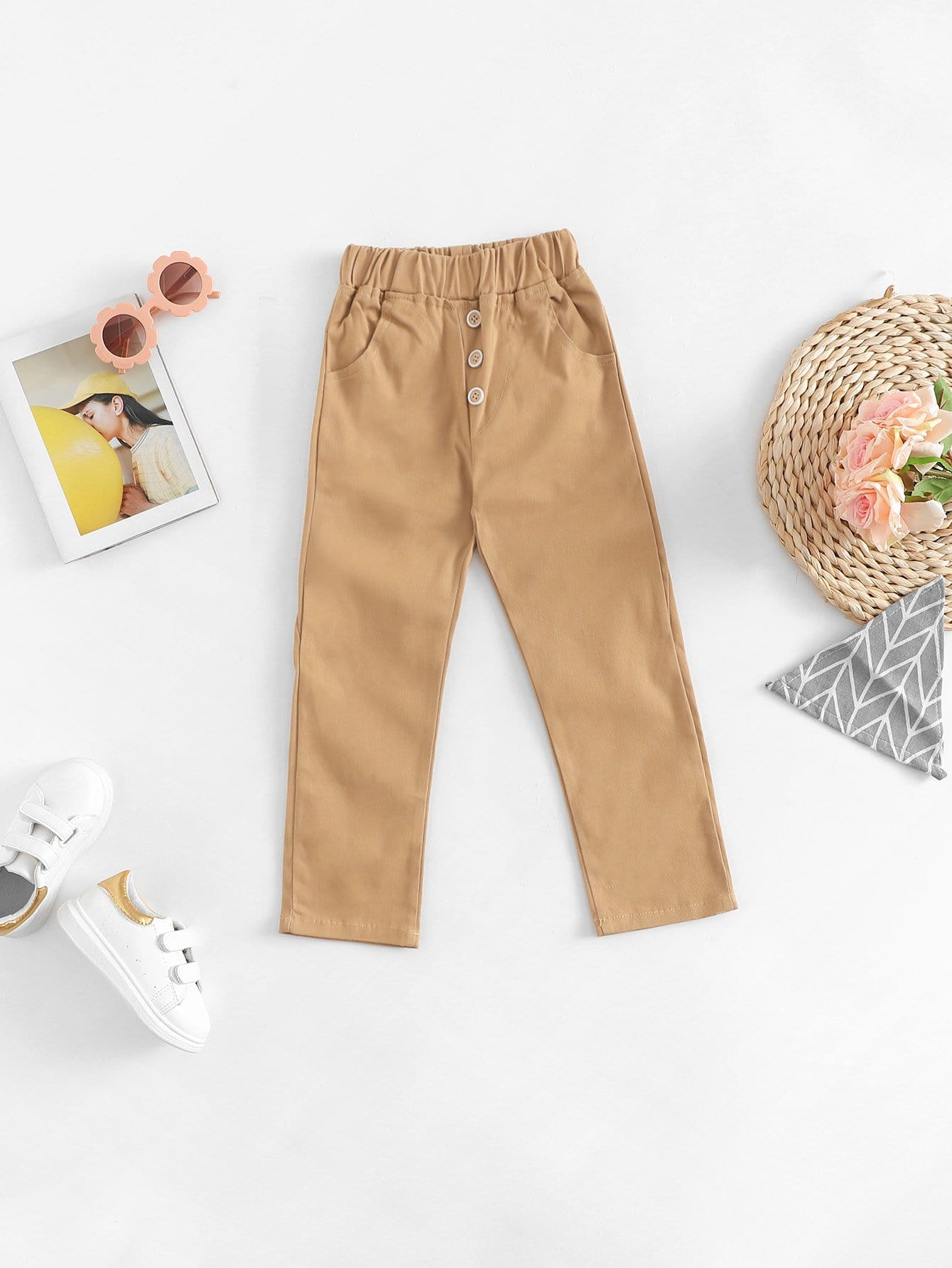 Boys Button Front Solid Pants