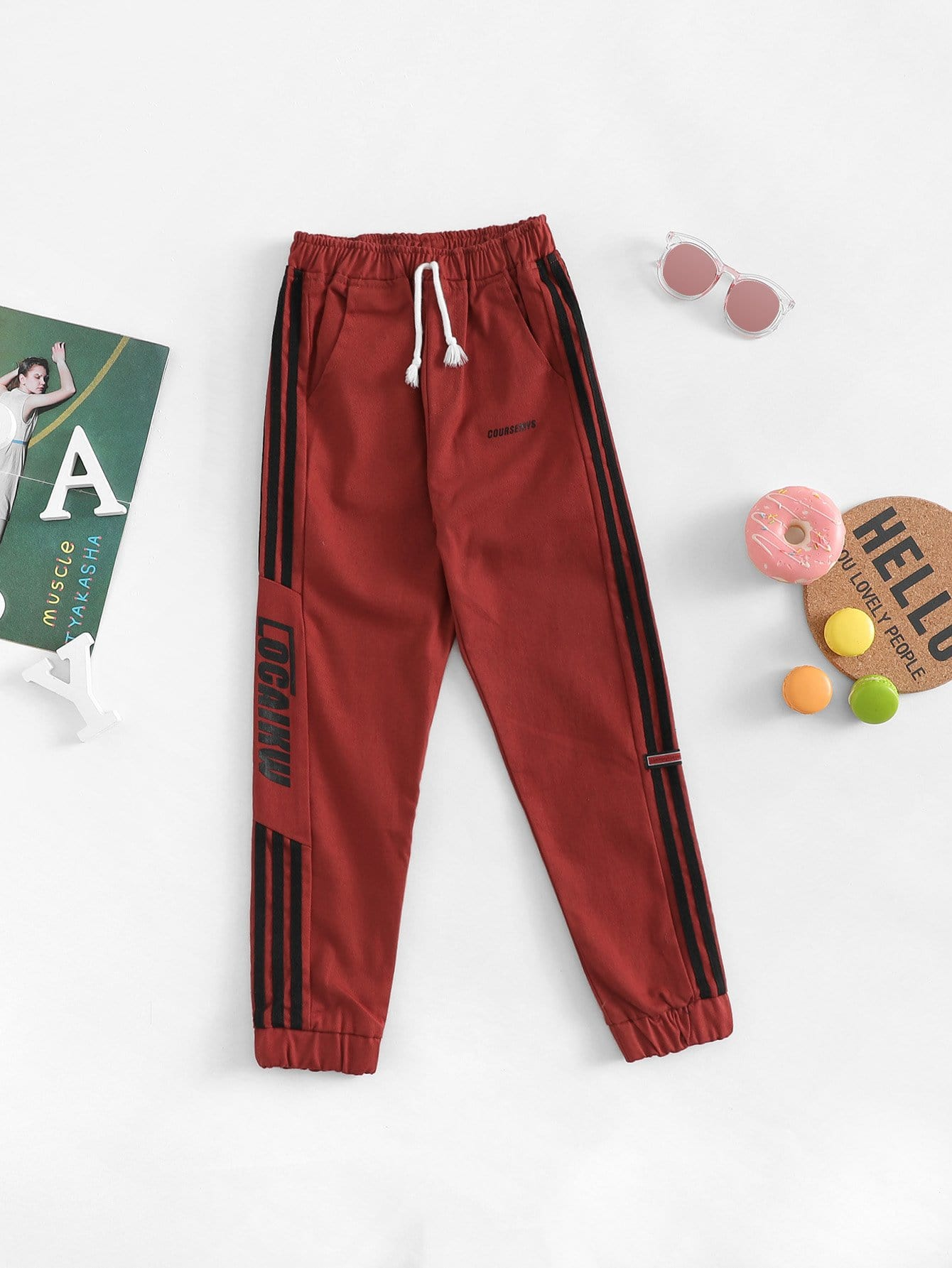 Boys Contrast Tape Side Letter Print Pants