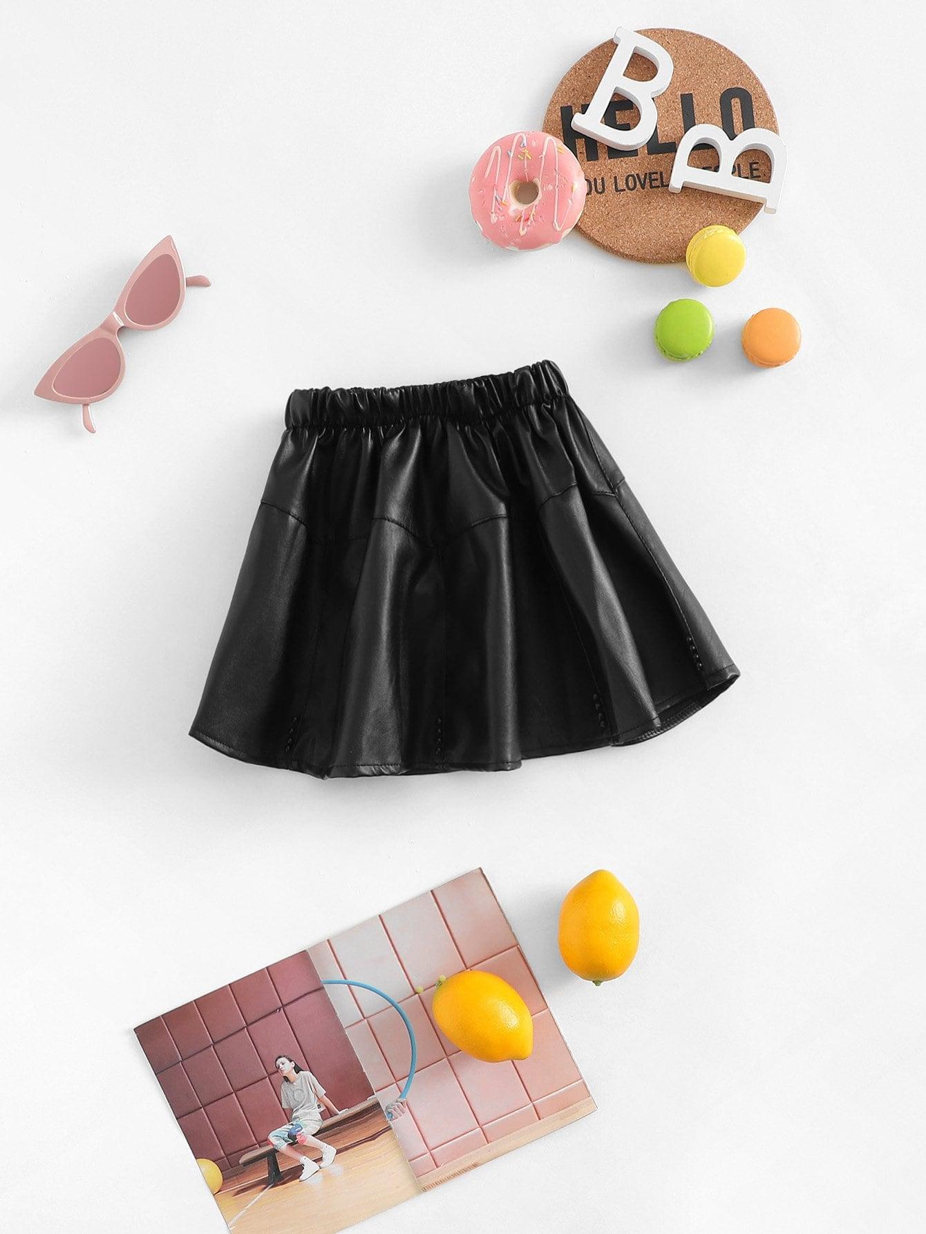 Девушки твердые искусственная расклешенная юбка