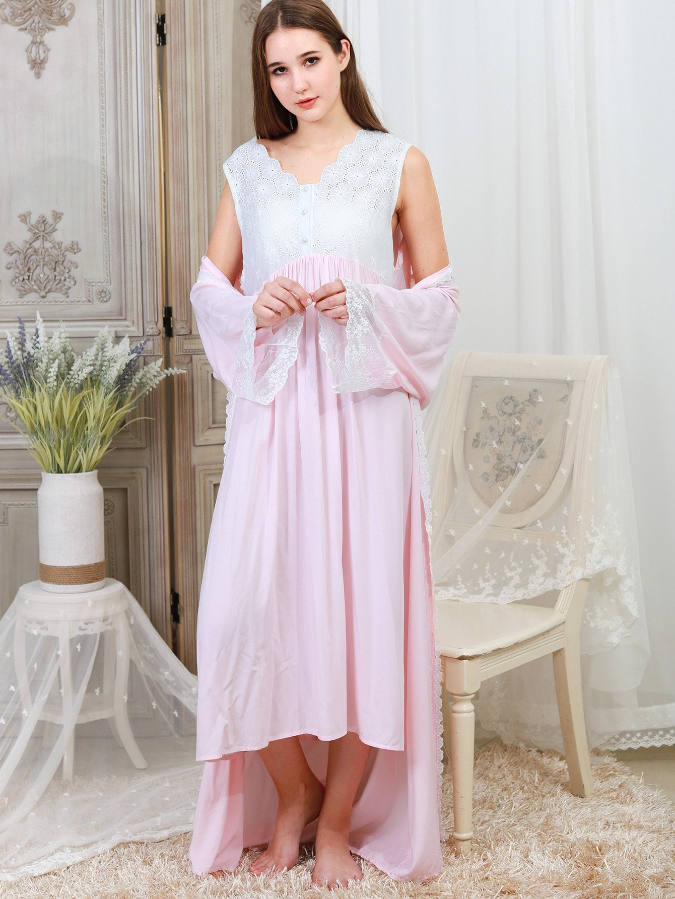 Lace Panel Night Dress With Robe