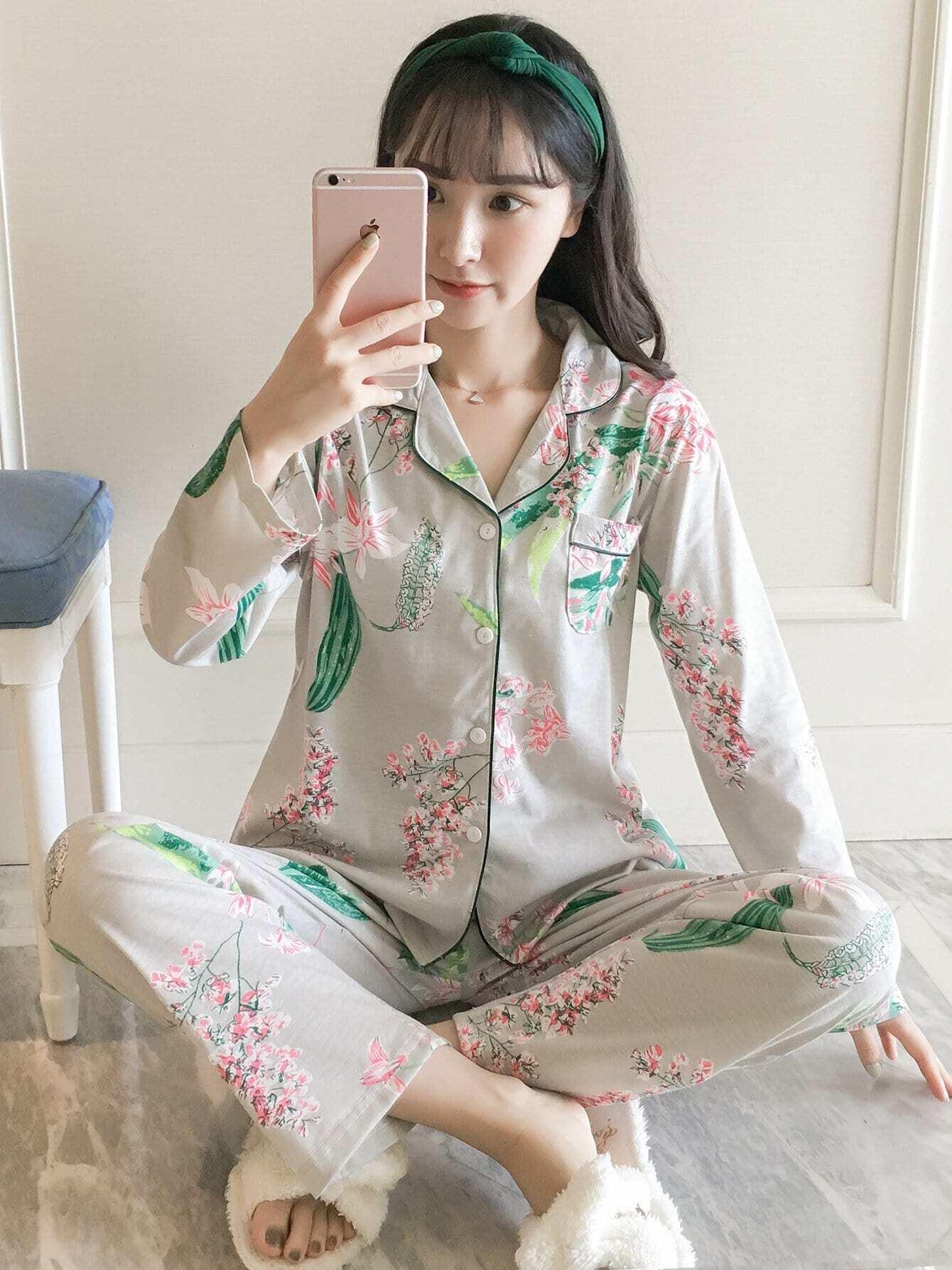 Fleurs & Feuilles D'Impression De Pyjama Set