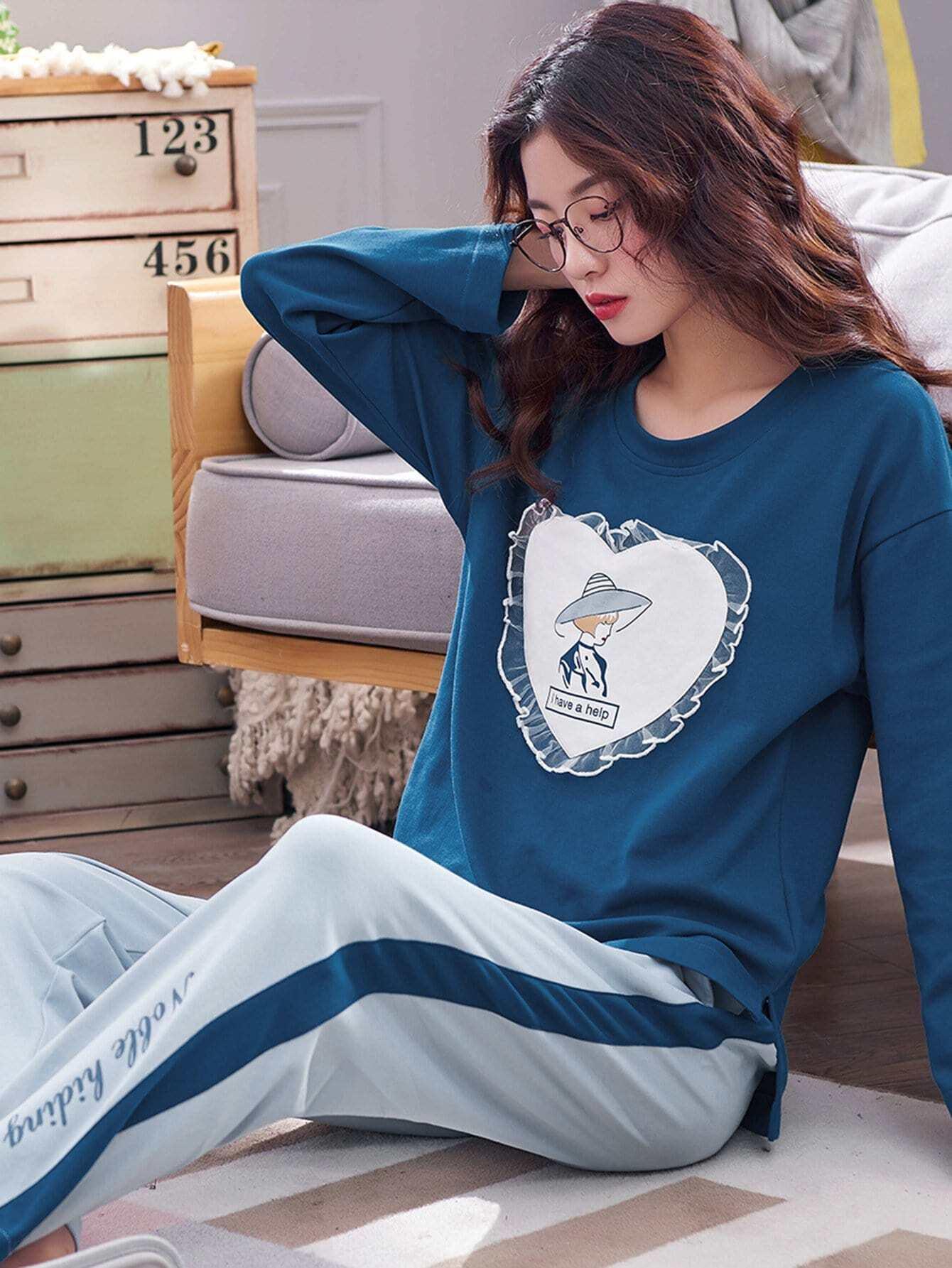 Figure Print Heart Pattern Pajama Set