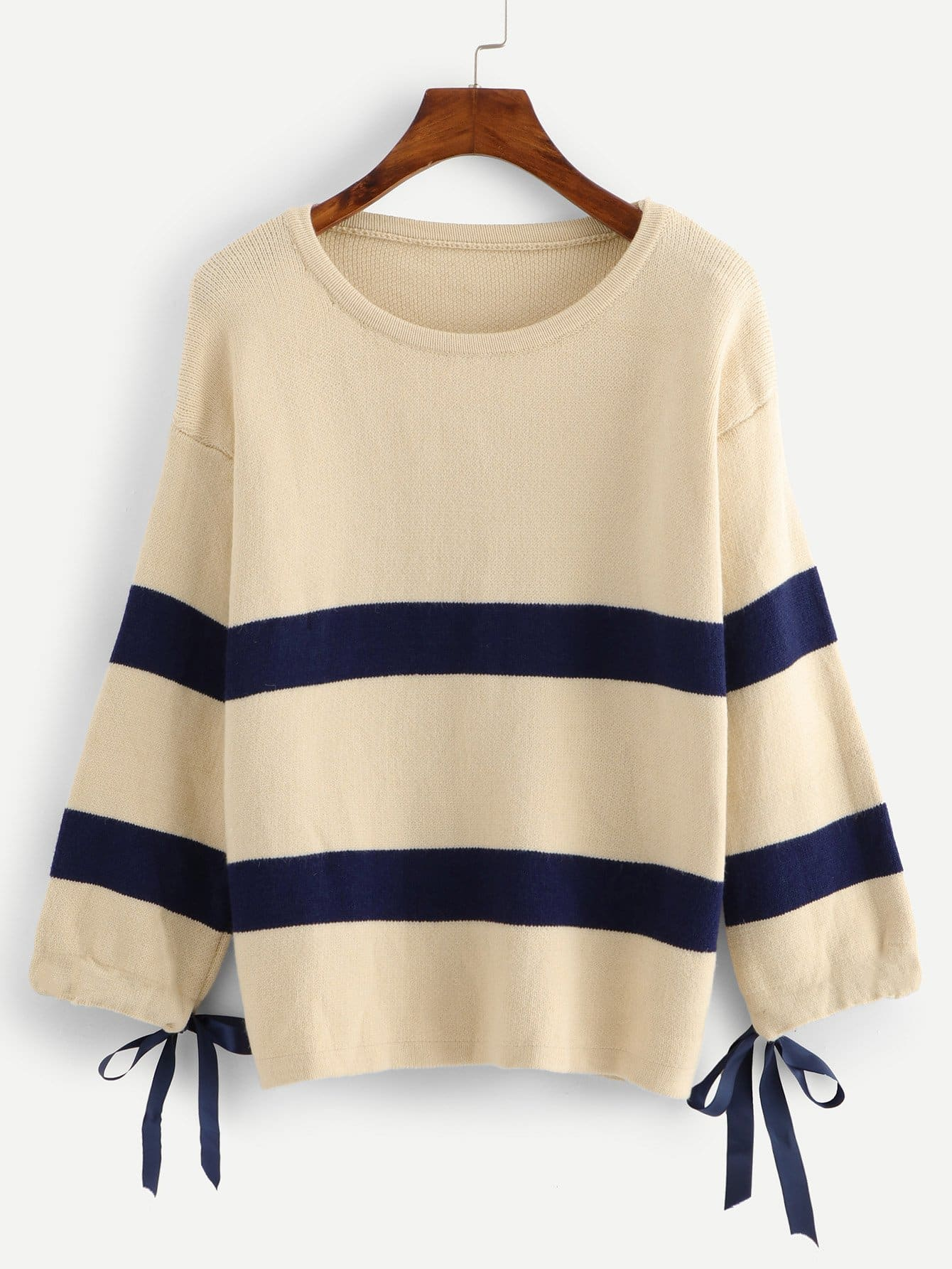 Knot Cuff Striped Sweater