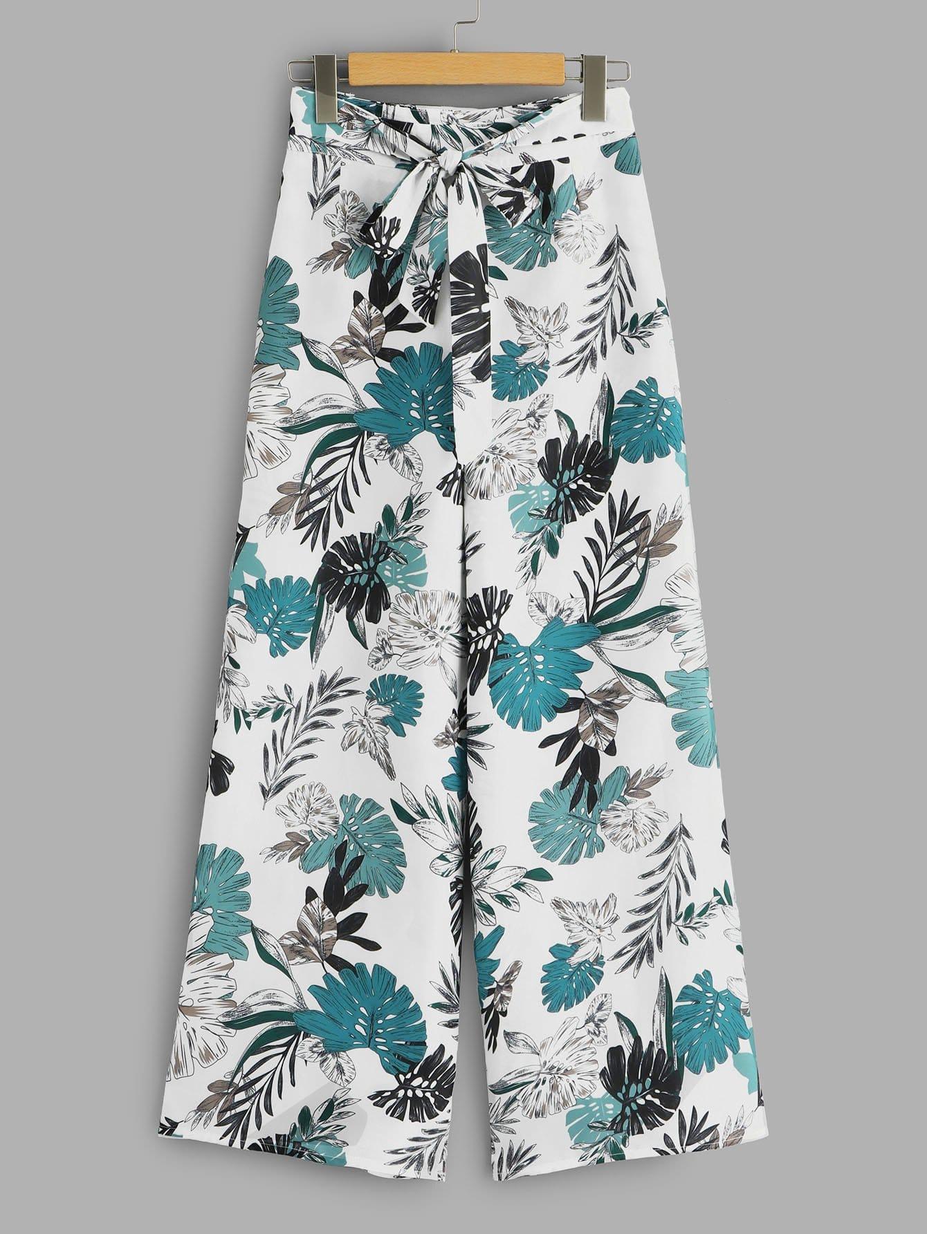 Купить Широкие ножные штаны с рисунками коричневыми и с поясом, null, SheIn