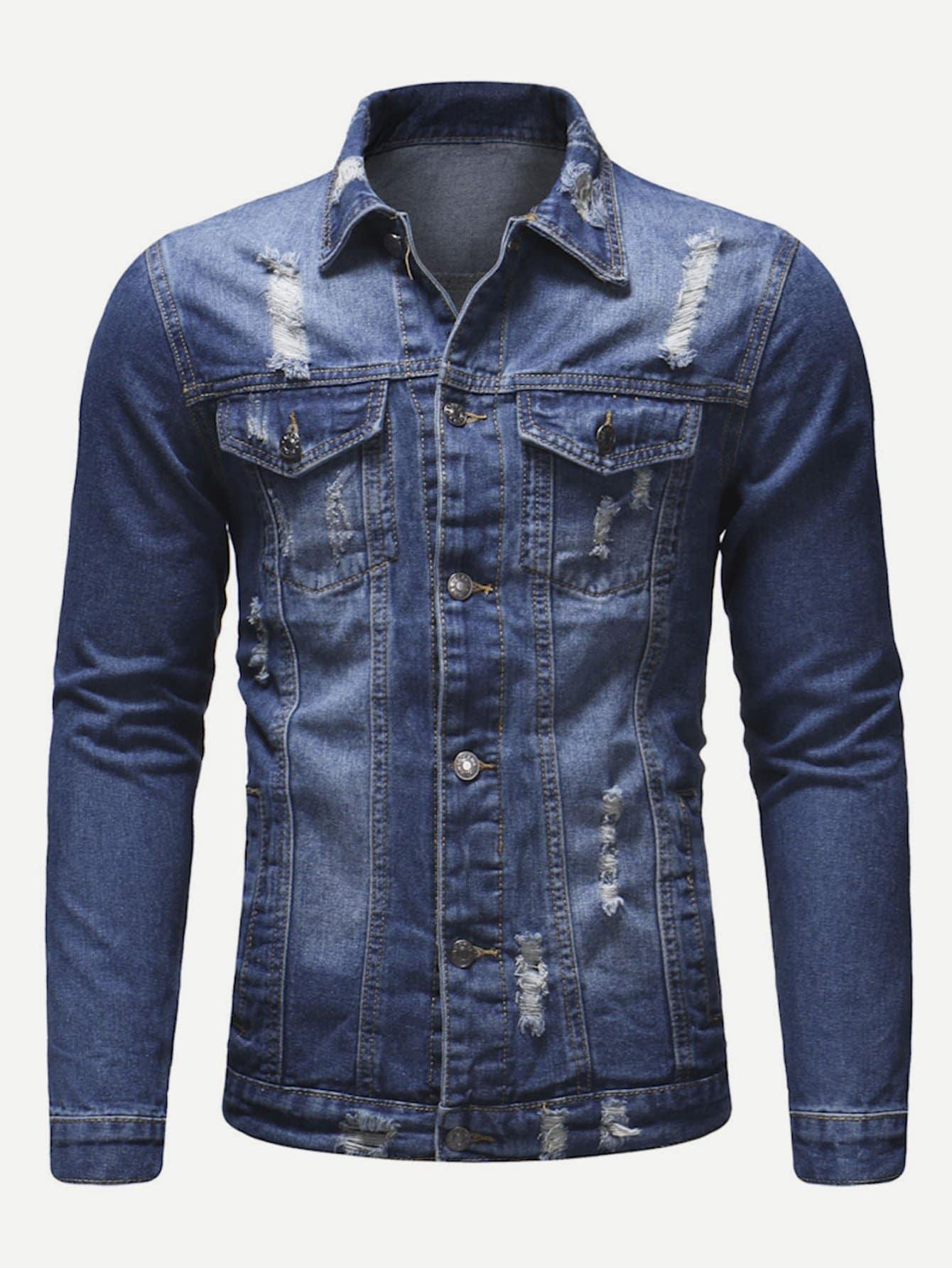 Купить Рваная джинсовая ветровка для мужчины, null, SheIn