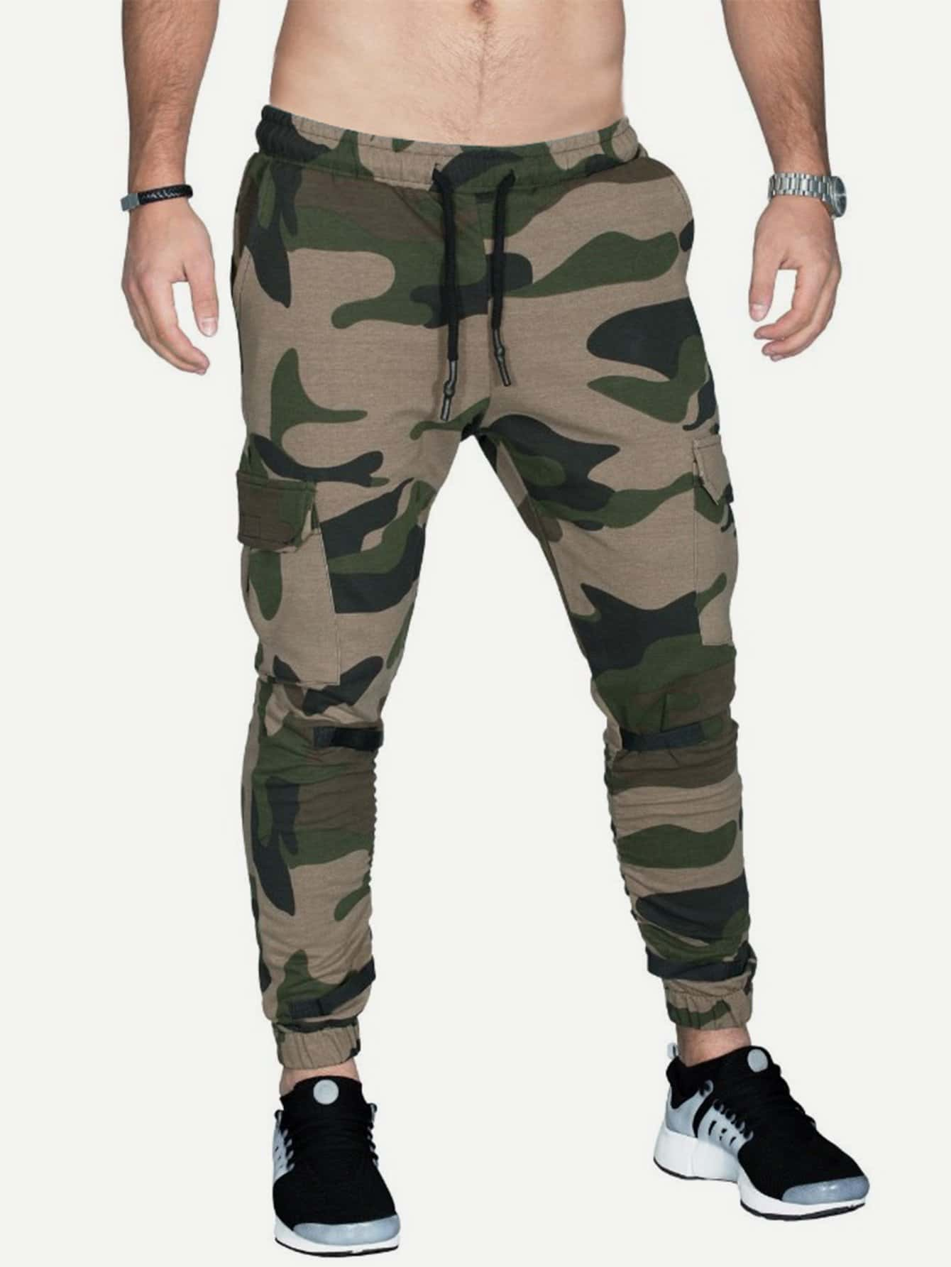 Men Pockets Decoration Camo Drawstring Pants