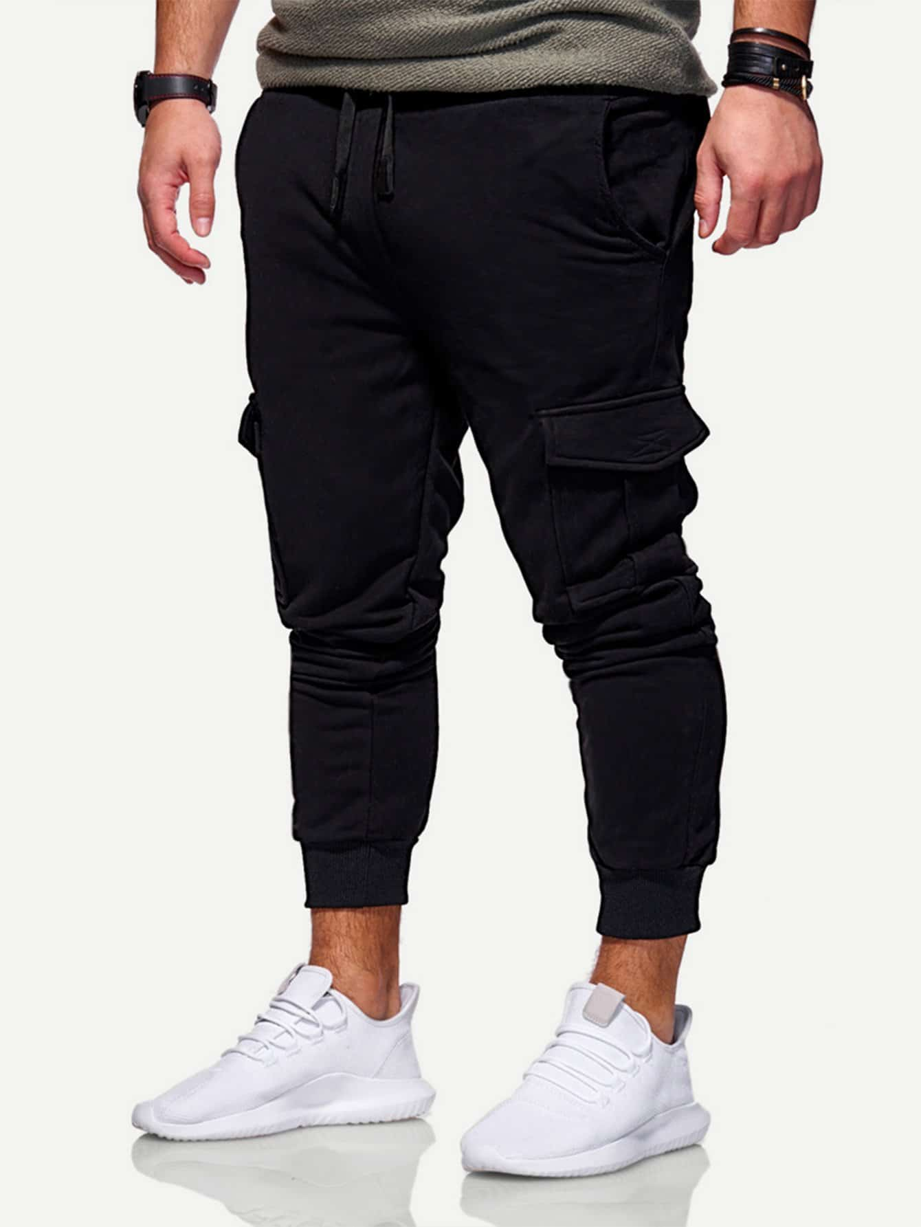 Men Solid Pockets Decoration Drawstring Pants