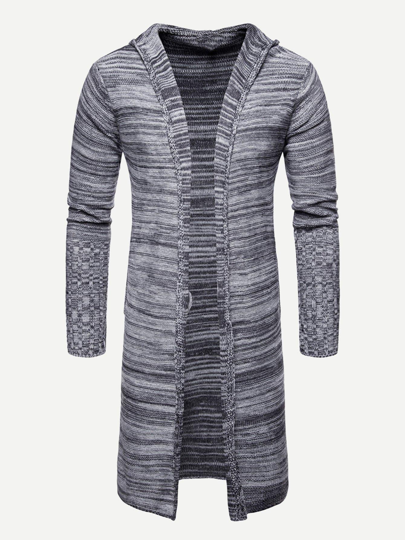 Men Space Dye Knit Hooded Coat