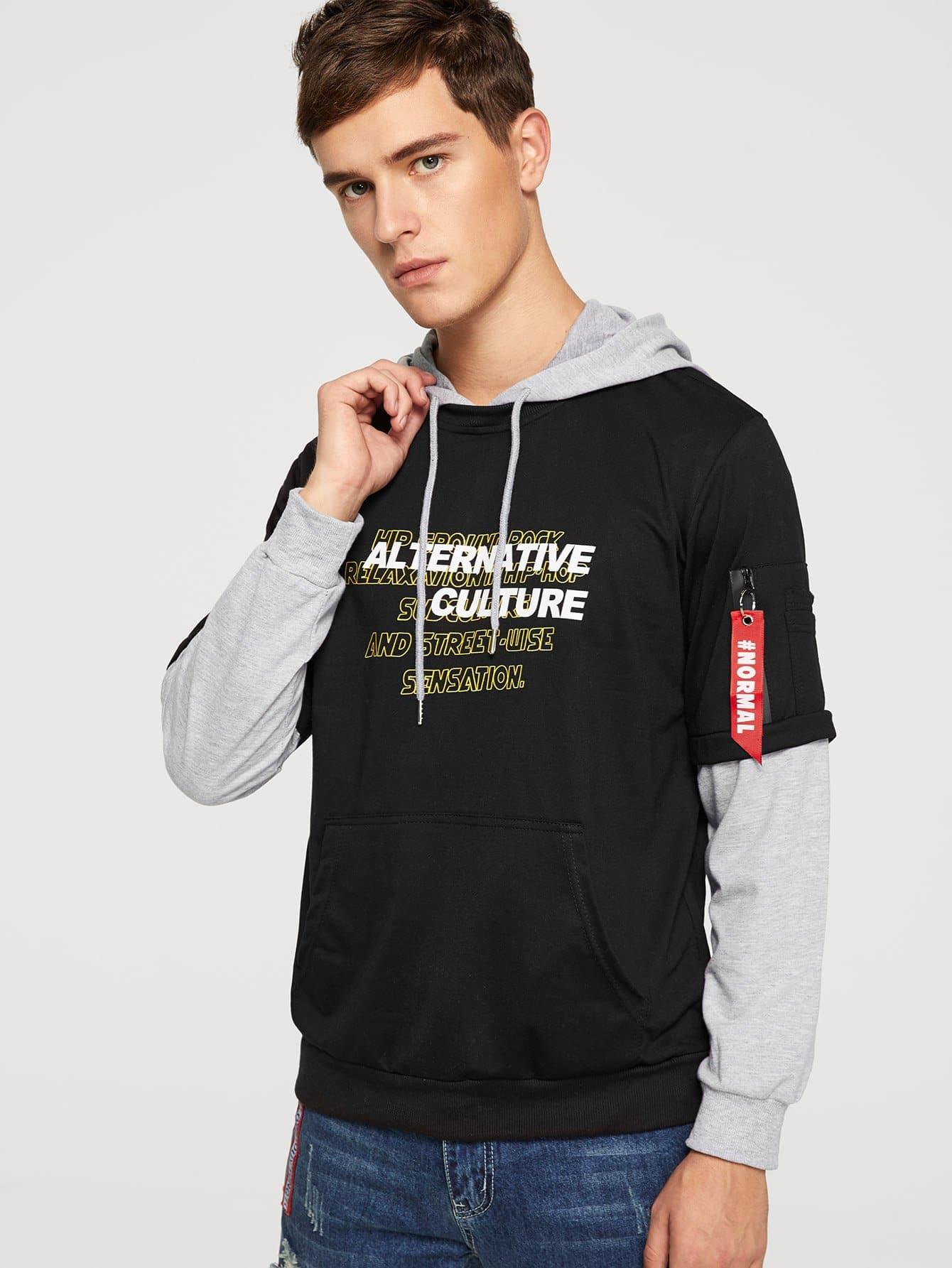 Men 2 In 1 Letter Print Hooded Sweatshirt