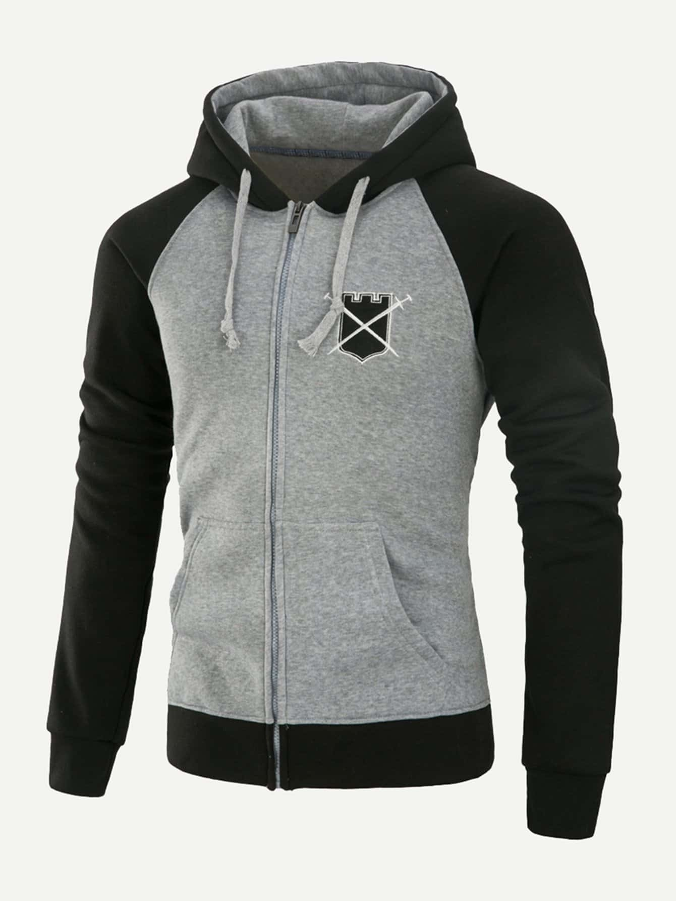 Men Patched Cut And Sew Hooded Sweatshirt