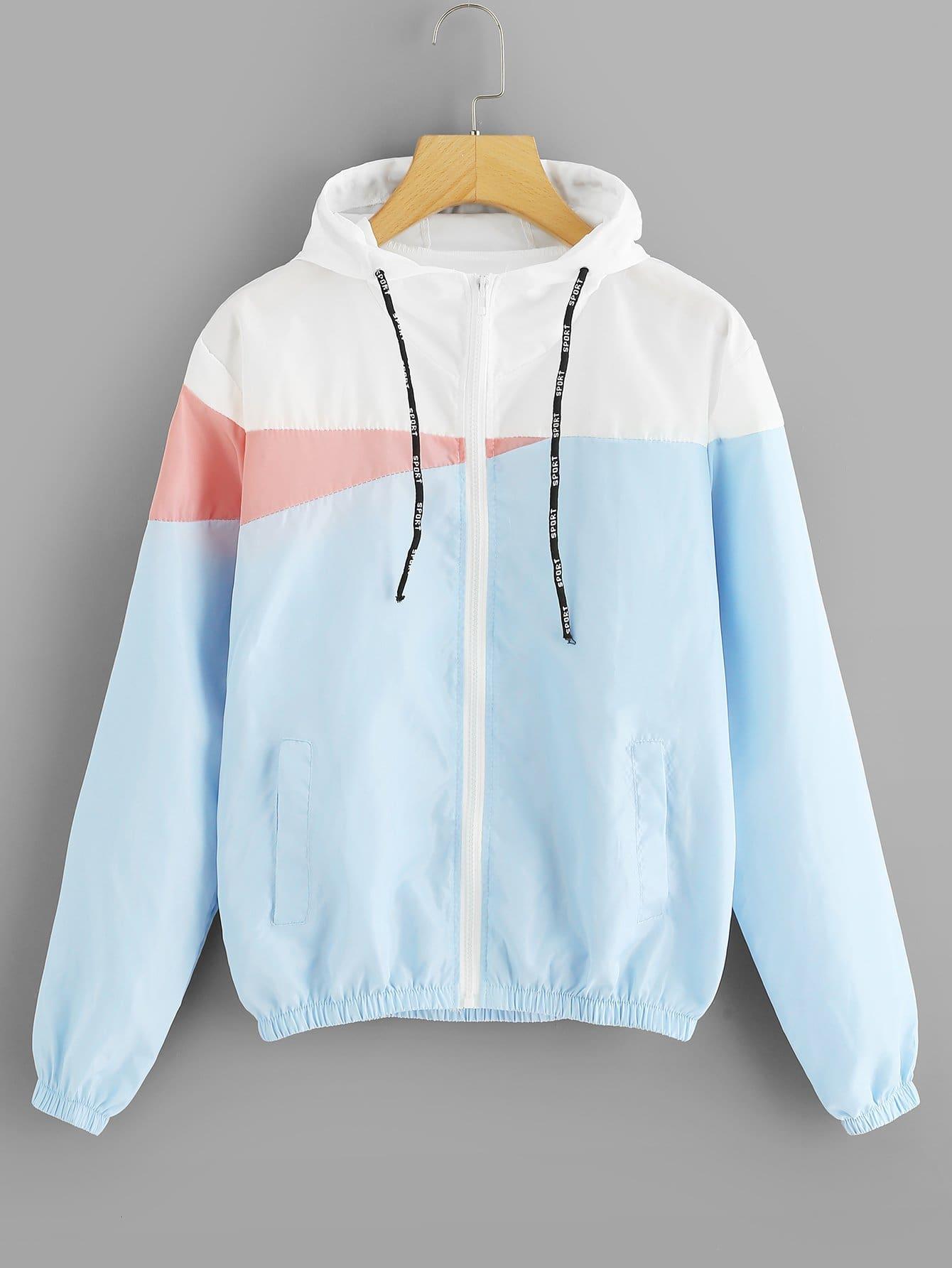 Color Block Zip Up Jacket