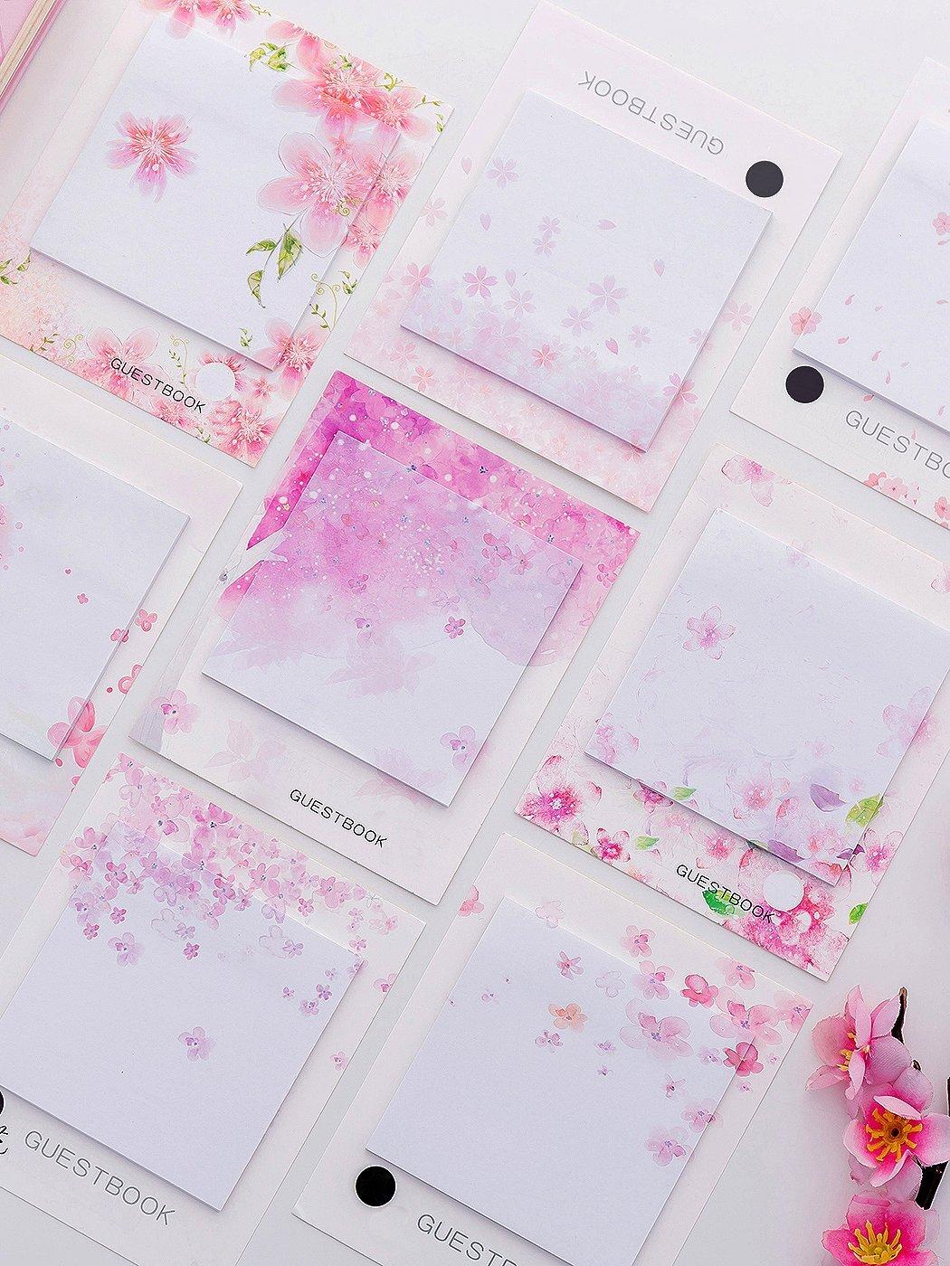 Купить 3 шт Клейкая бумага для заметок с рисунками случаёных цветов 30 листьев, null, SheIn