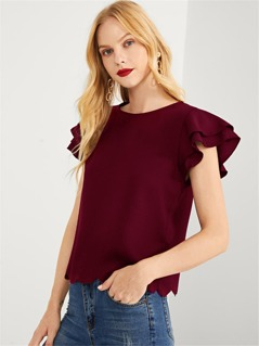Tiered Ruffle Sleeve Scallop Hem Top