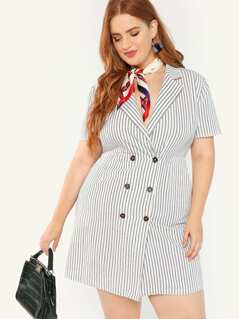 Plus Notch Collar Double Breasted Striped Dress
