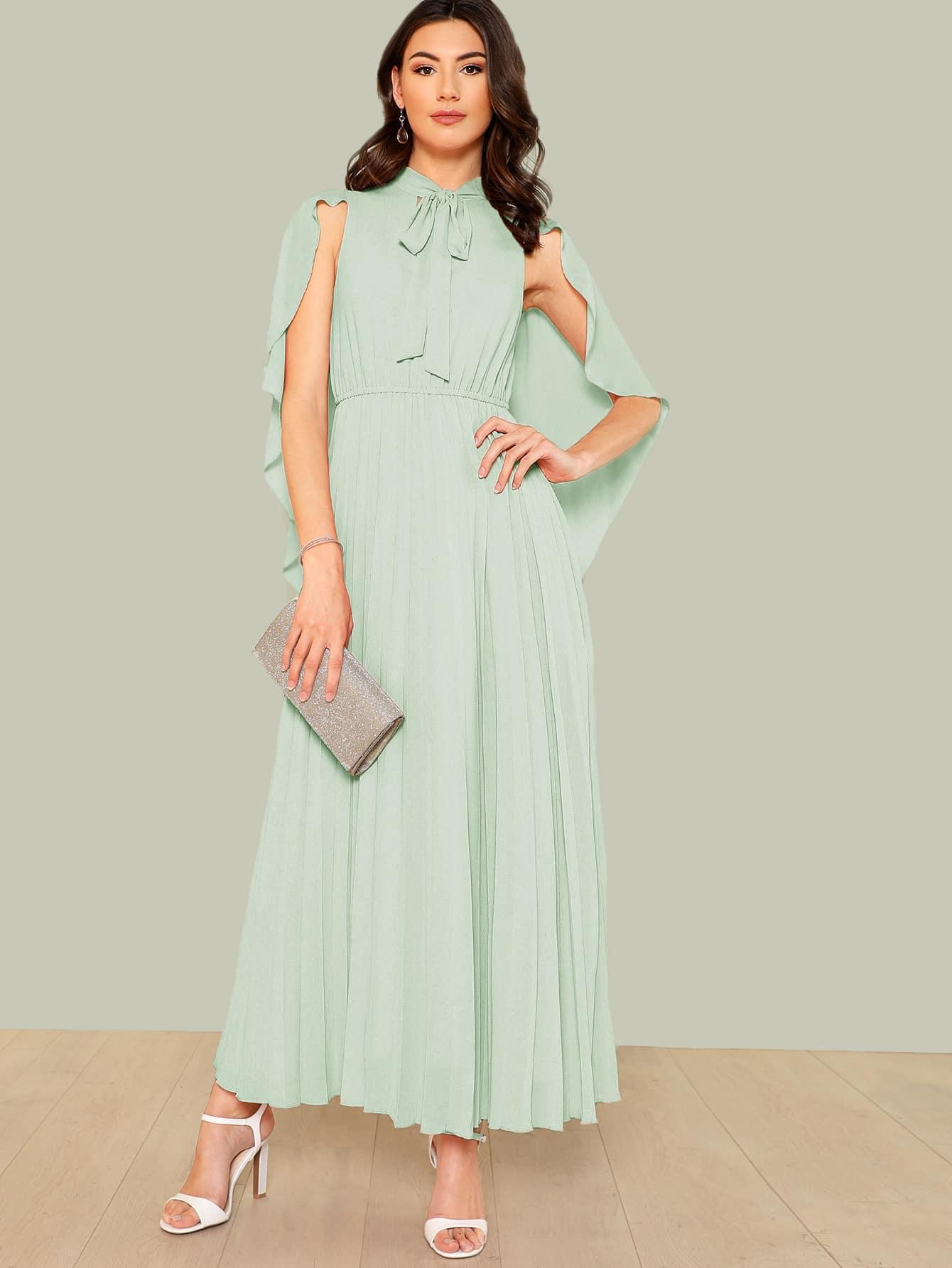 Купить Платье со складками со плащом-рукавом и с воротником-бантом, Zandria Theis, SheIn