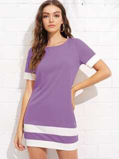 Color Block Stripe Shift Dress