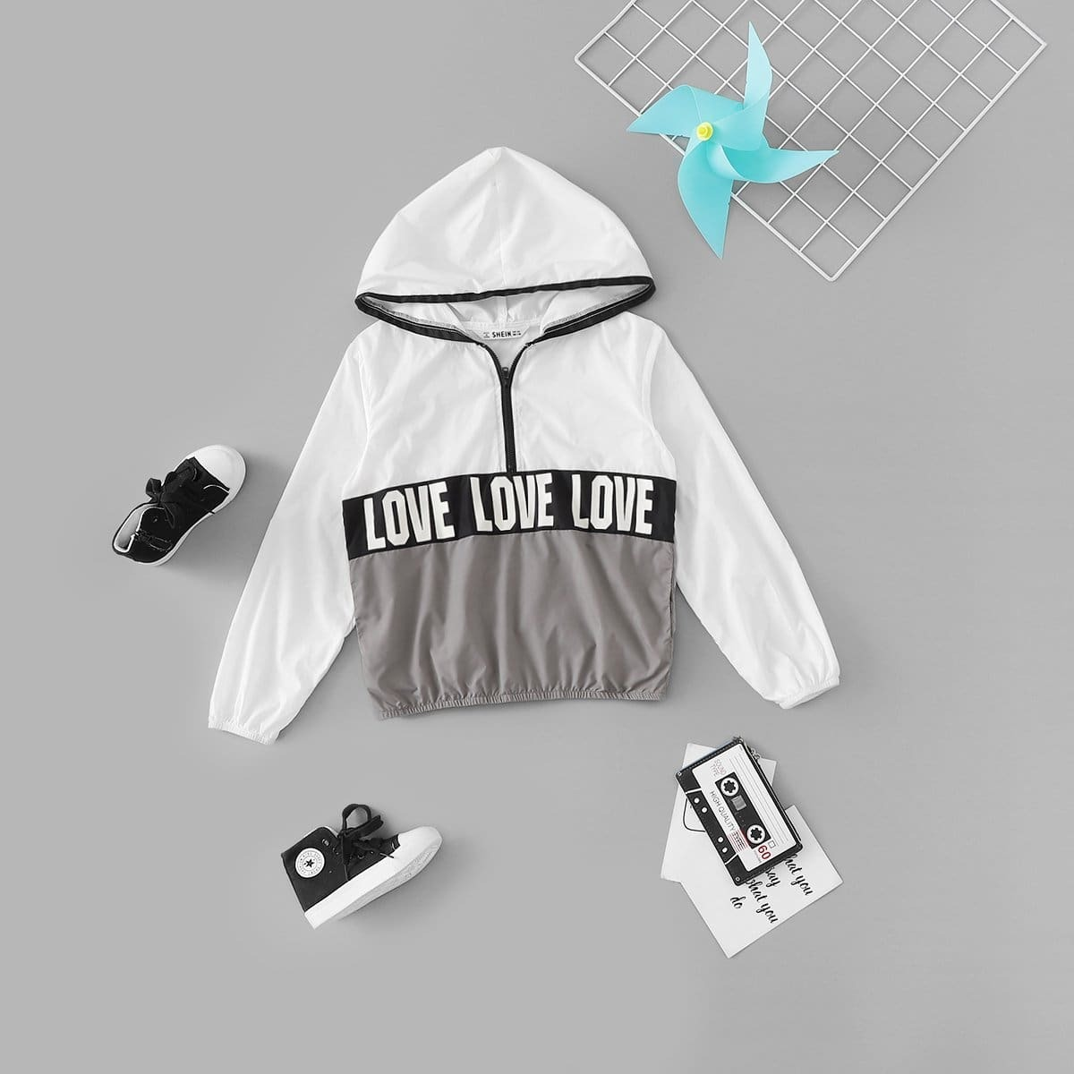 Контрастная куртка с текстовым принтом для девочек от SHEIN