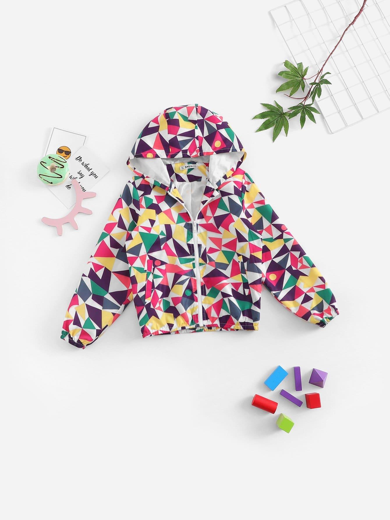 Девочка Zip Front Argyle Print Jacket