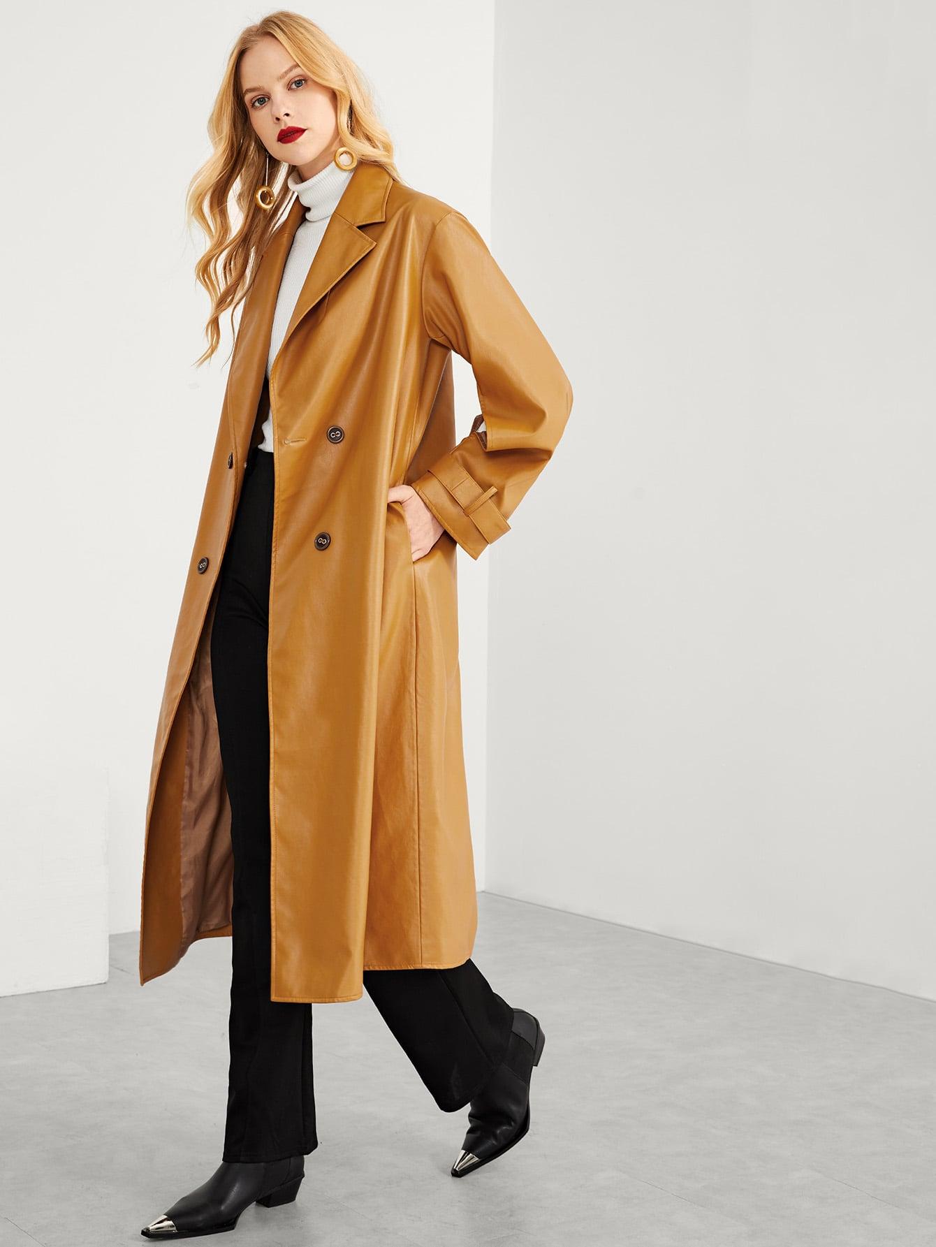 Купить Двубротное твердое пальто с зубчатым воротником, Denisa, SheIn