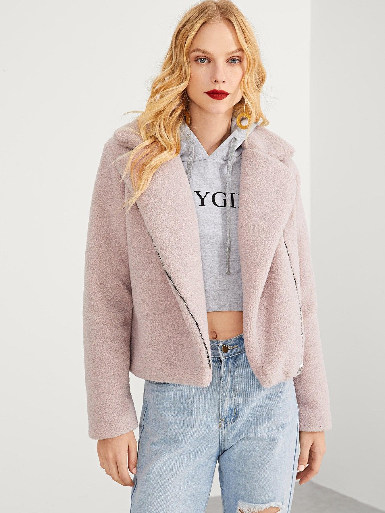 Купить Твердое пальто на молнии с зубчатым воротником, Denisa, SheIn