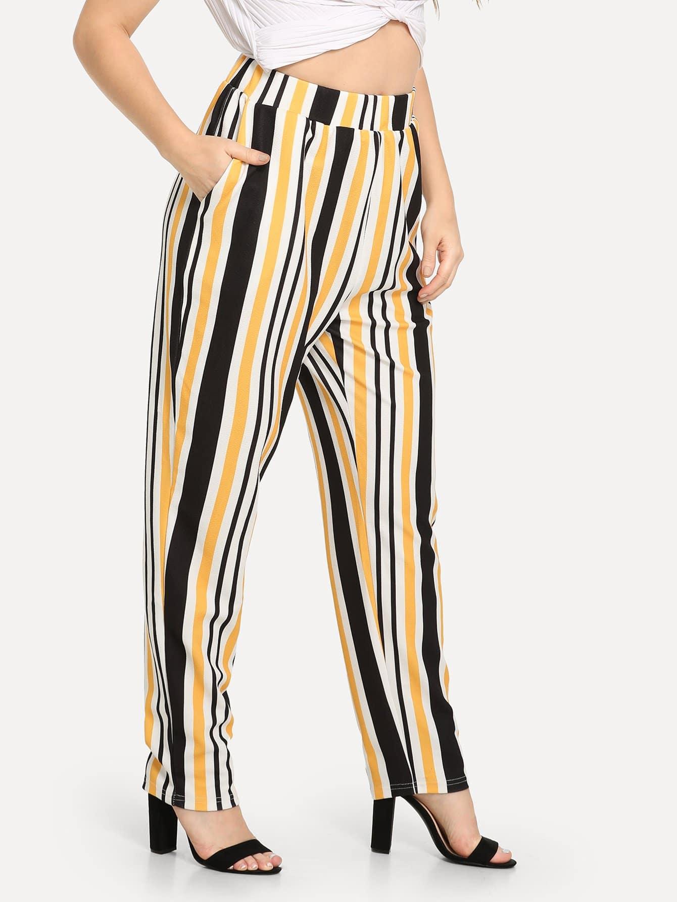 Купить Плюс размеры цветочные полосатые облегающие брюки, Isabela, SheIn