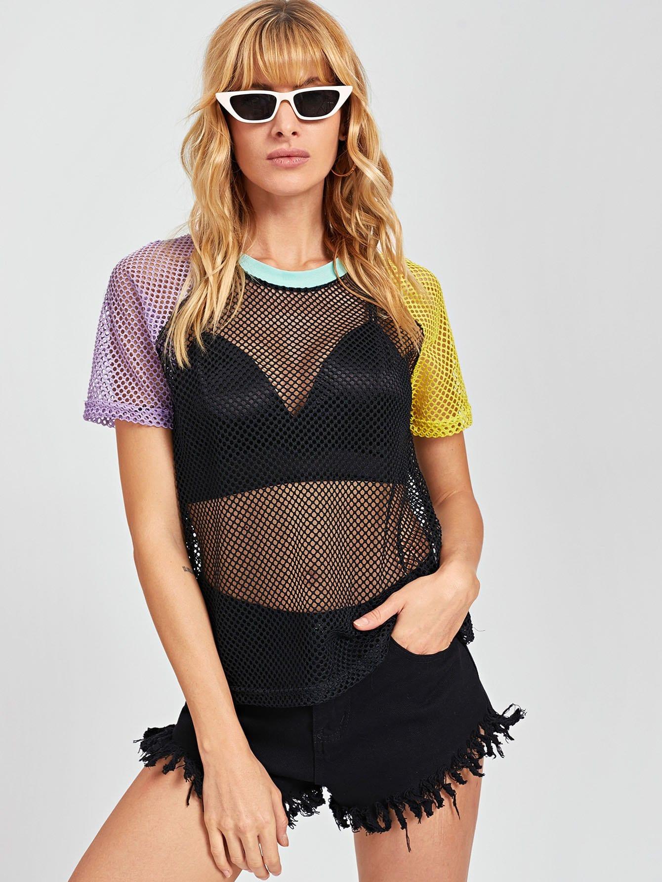 Купить Сетчатая блузка со симметрическими рукавами Raglan, Masha, SheIn