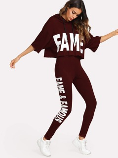 Letter Print Hooded Top & Pants Set