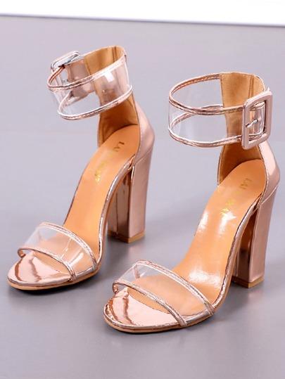 Romwe / Contrast Patent Leather Trim Heels