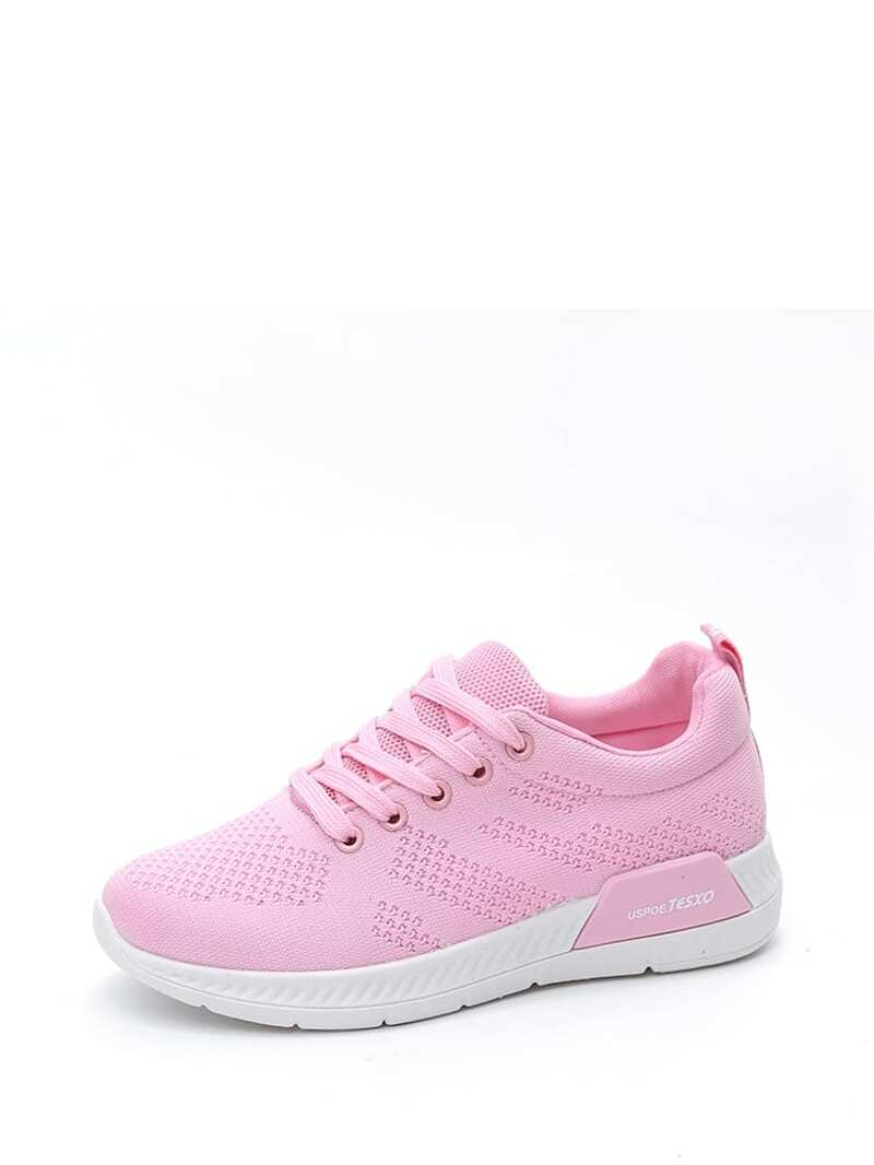 Lace Up Knit Sneakers, Pink