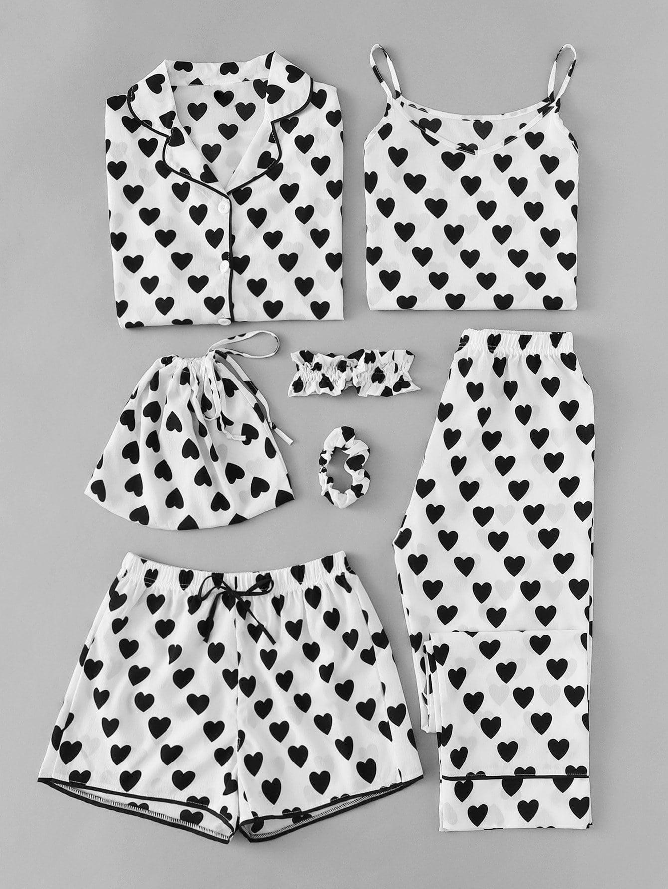 7pcs Cami Pajama Set mit Herz Muster und Bluse