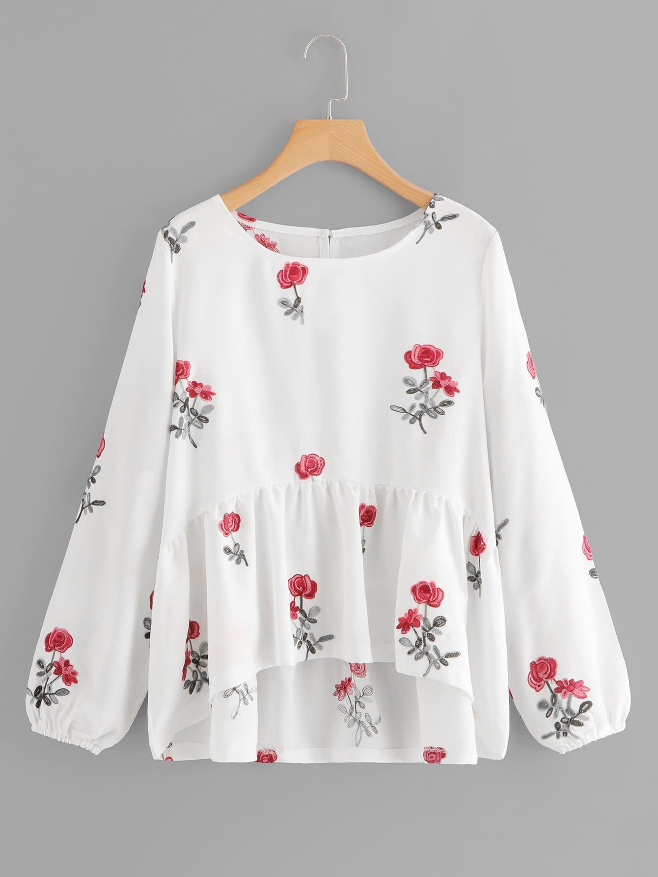Купить Блуза с рисунками вышитых цветов, null, SheIn