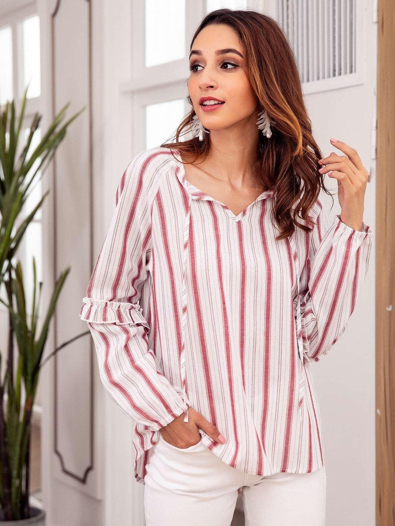 Купить Полосатая блуза и рукав с кружевными оборками, Gabi B, SheIn