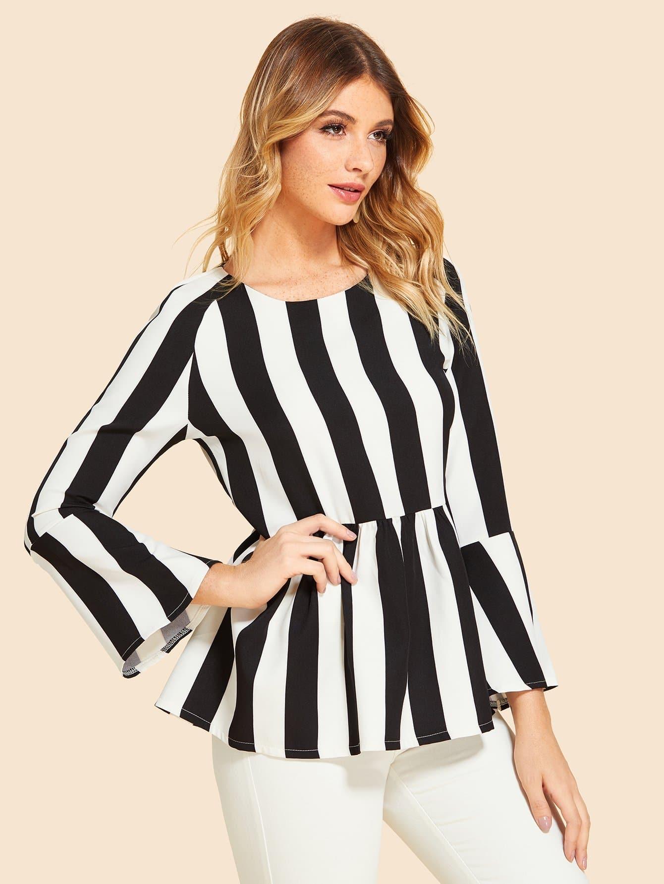 Купить Полосатая блуза и рукав с розеткой, Nathane, SheIn
