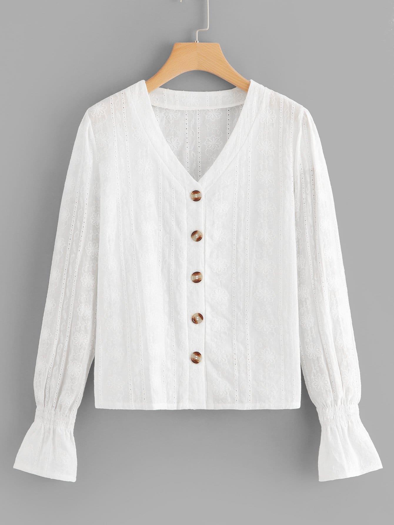 Купить Белый Пуговица Одноцветный Повседневный Блузы+рубашки, null, SheIn